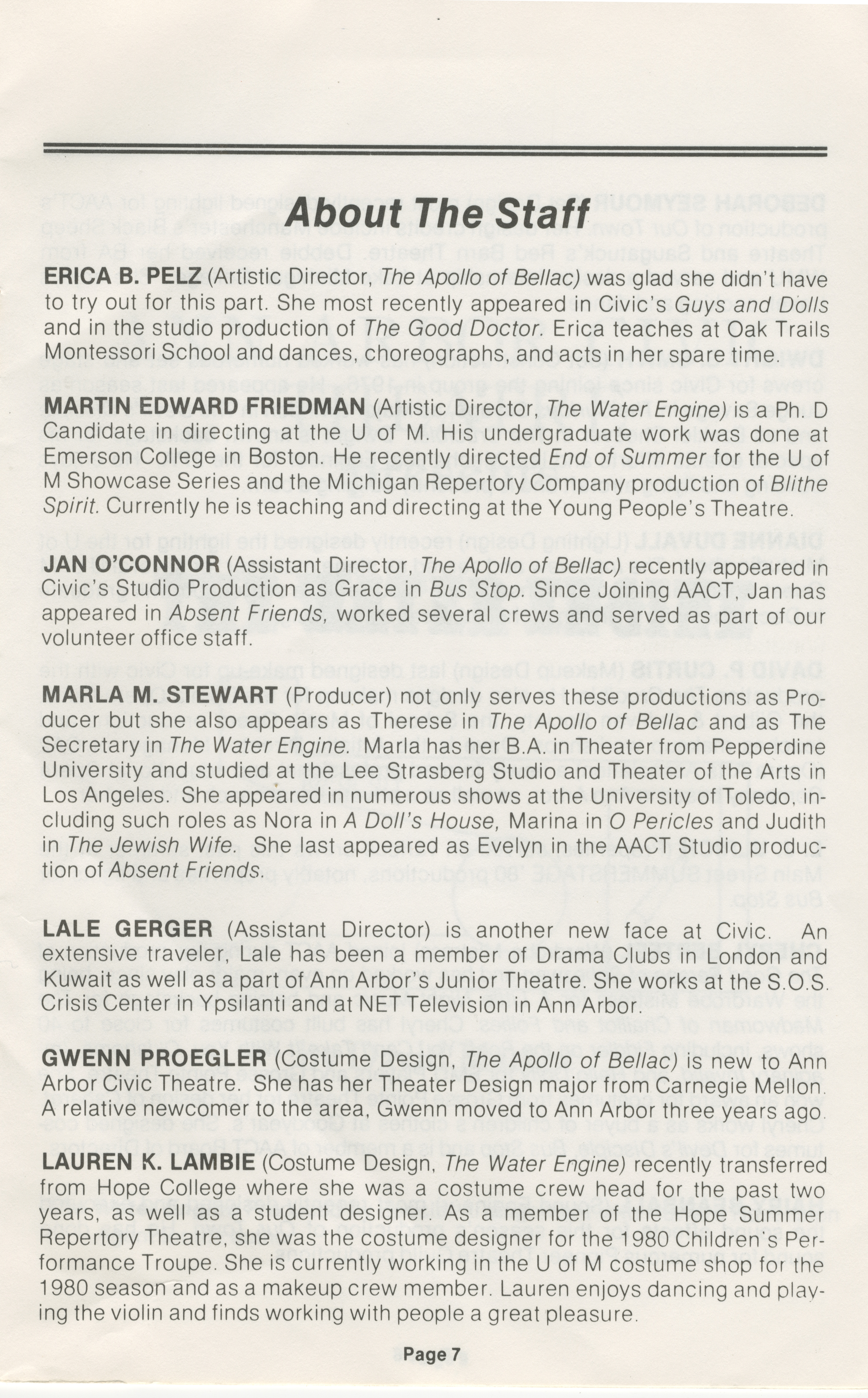Ann Arbor Civic Theatre Program: The Water Engine The Apollo of Bellac, December 17, 1980 image