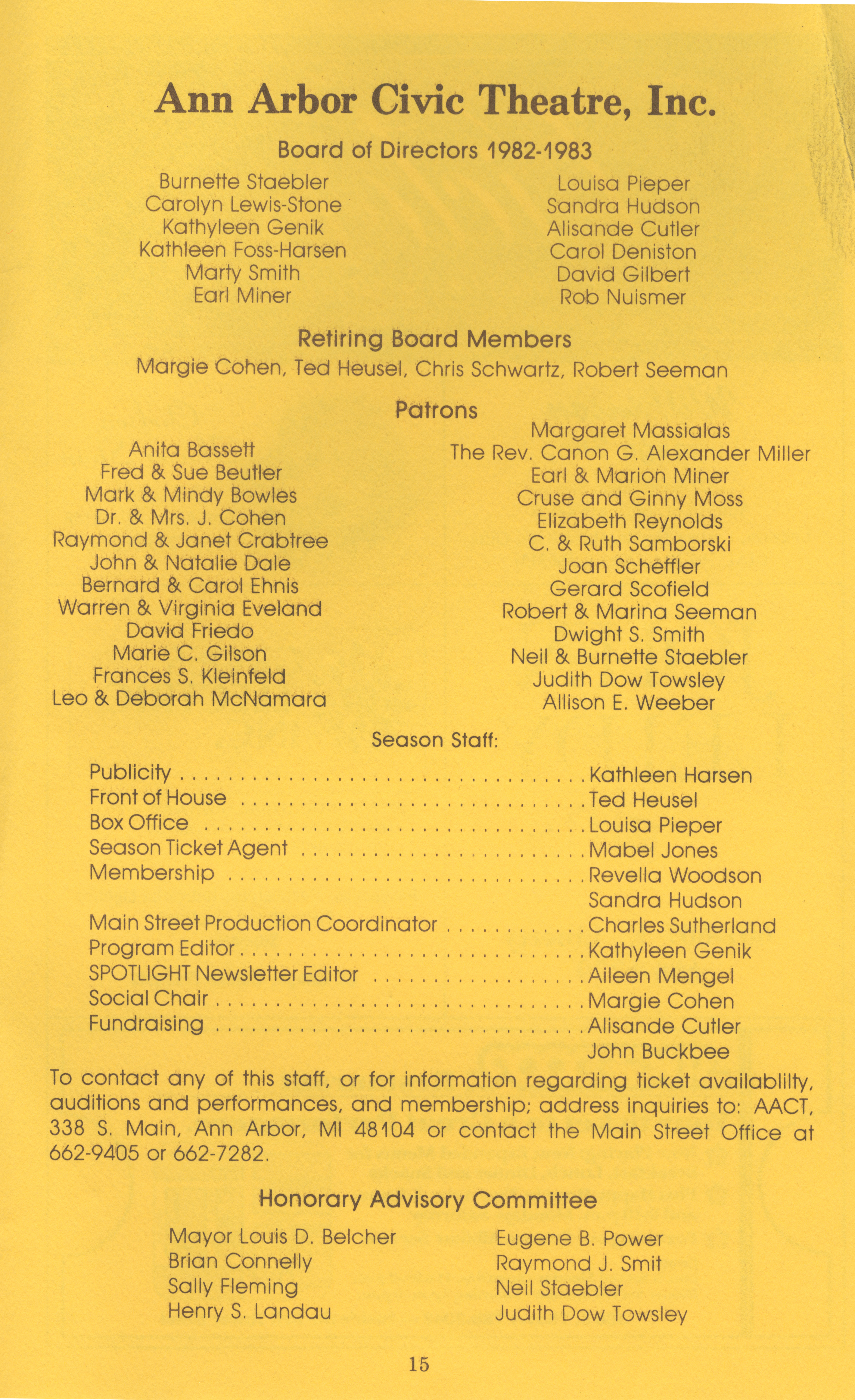 Ann Arbor Civic Theatre Program: Witness for the Prosecution, June 23, 1982 image