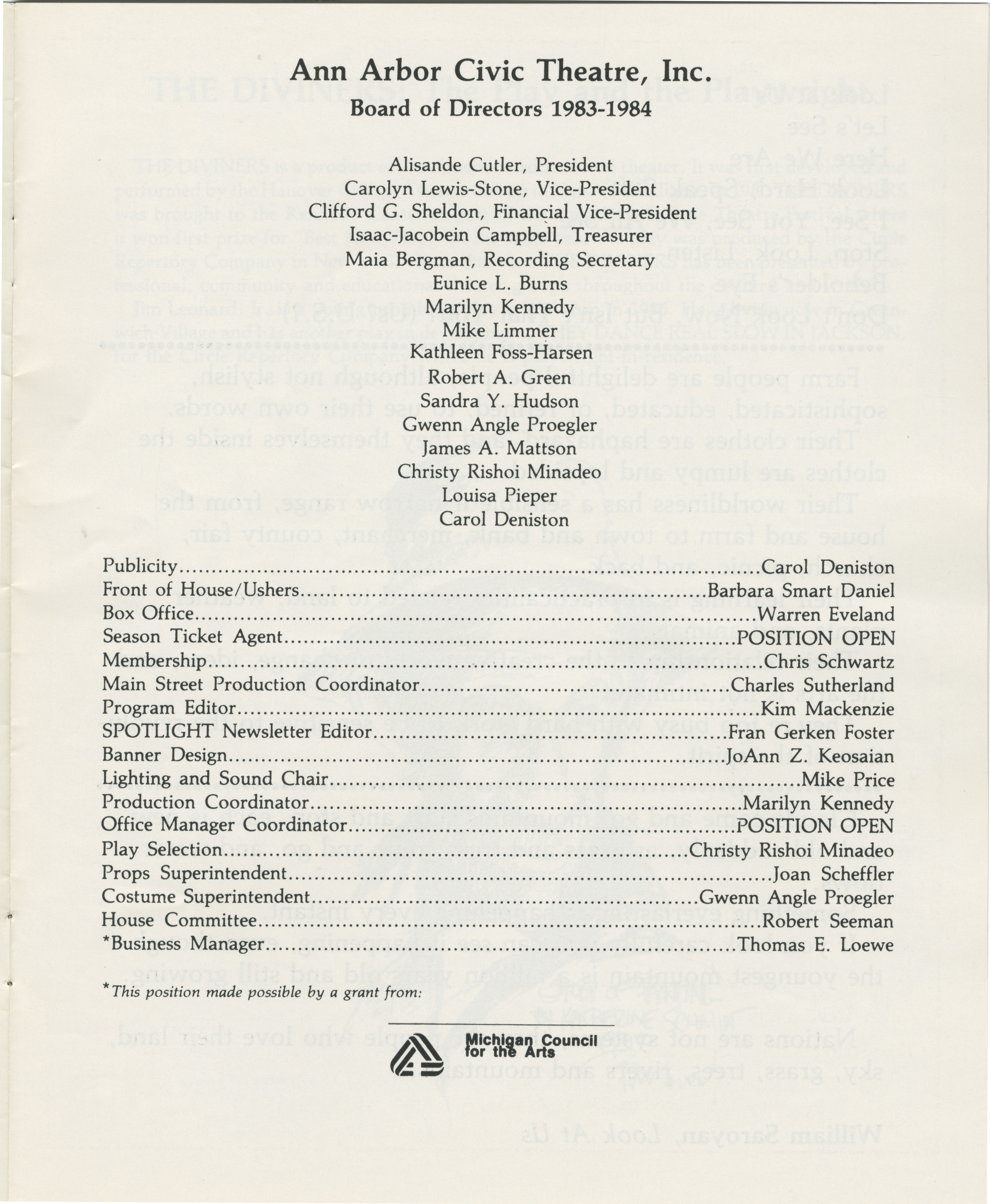 Ann Arbor Civic Theatre Program: The Diviners, March 14, 1984 image