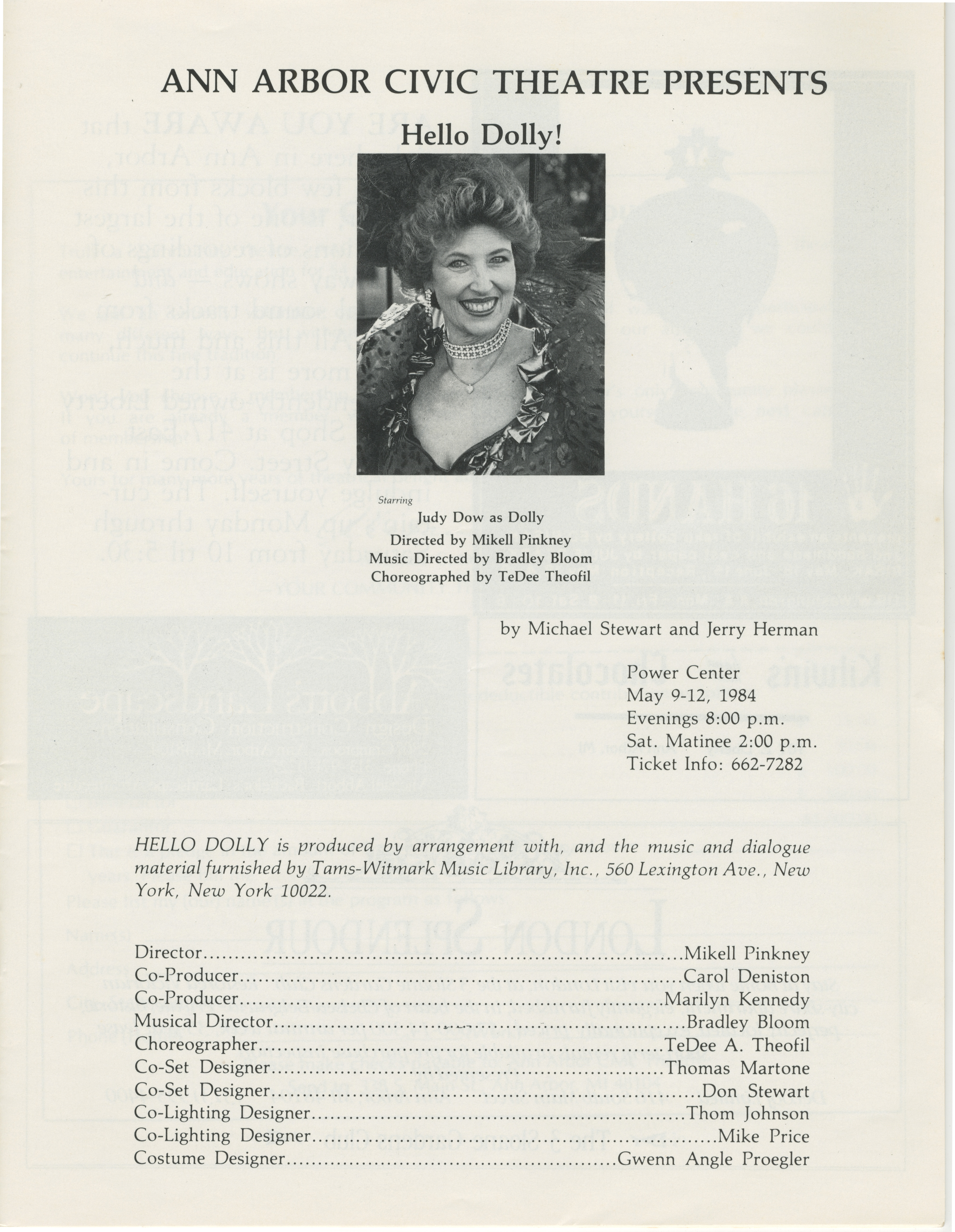 Ann Arbor Civic Theatre Program: Hello Dolly!, May 09, 1984 image