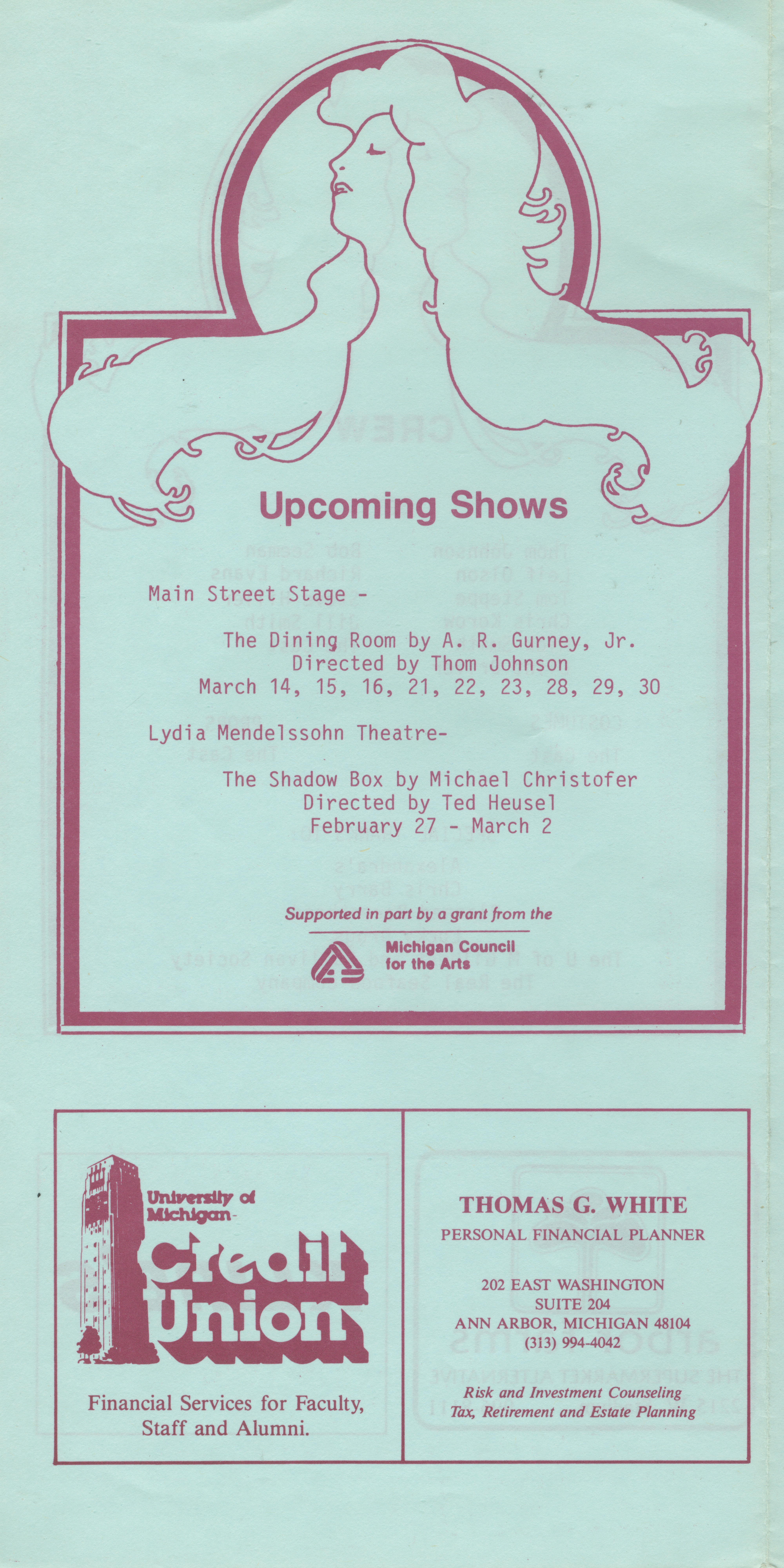 Ann Arbor Civic Theatre Program: Uncommon Women And Others, January 31, 1985 image