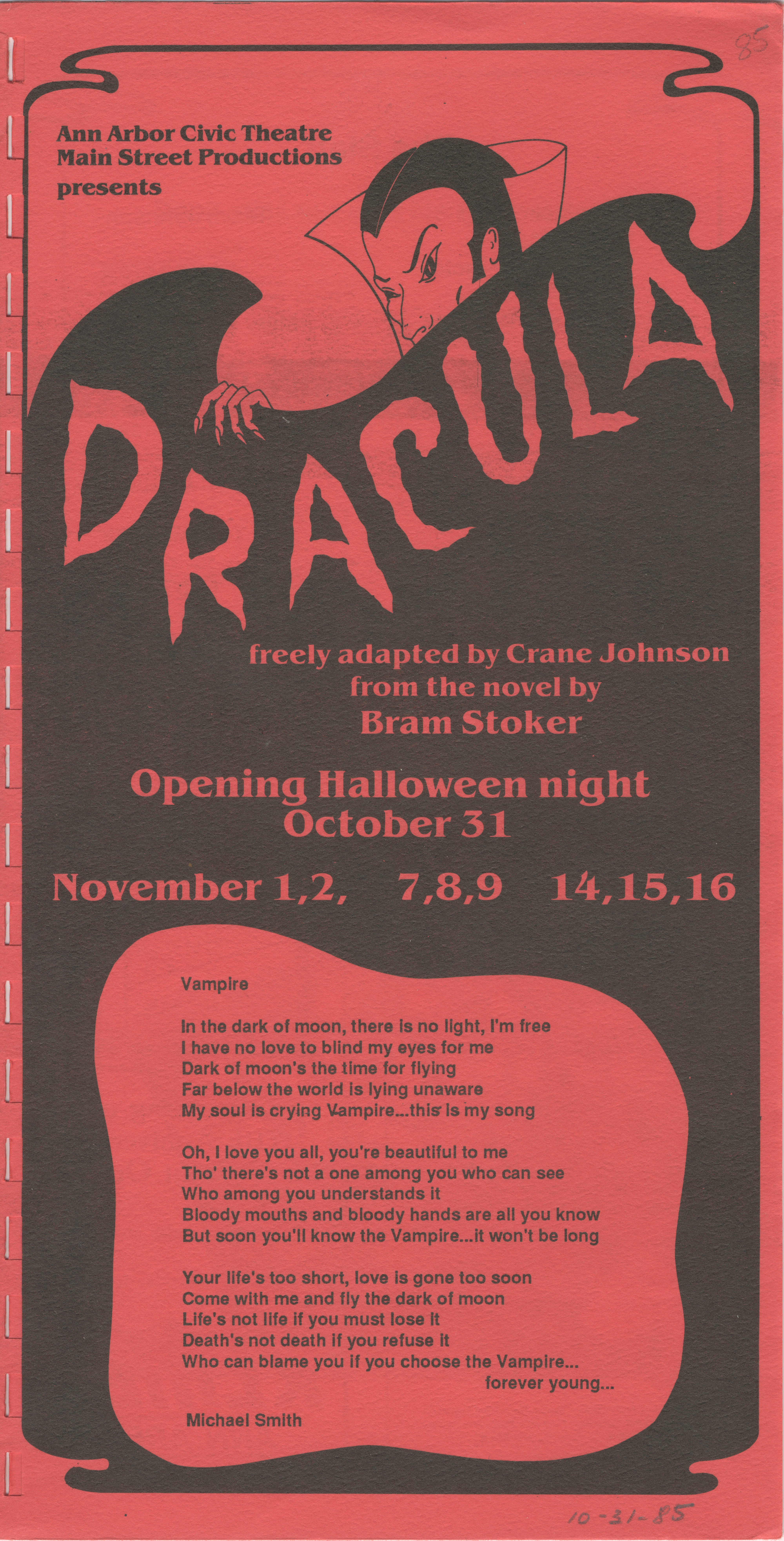 Ann Arbor Civic Theatre Program: Dracula, October 31, 1985 image