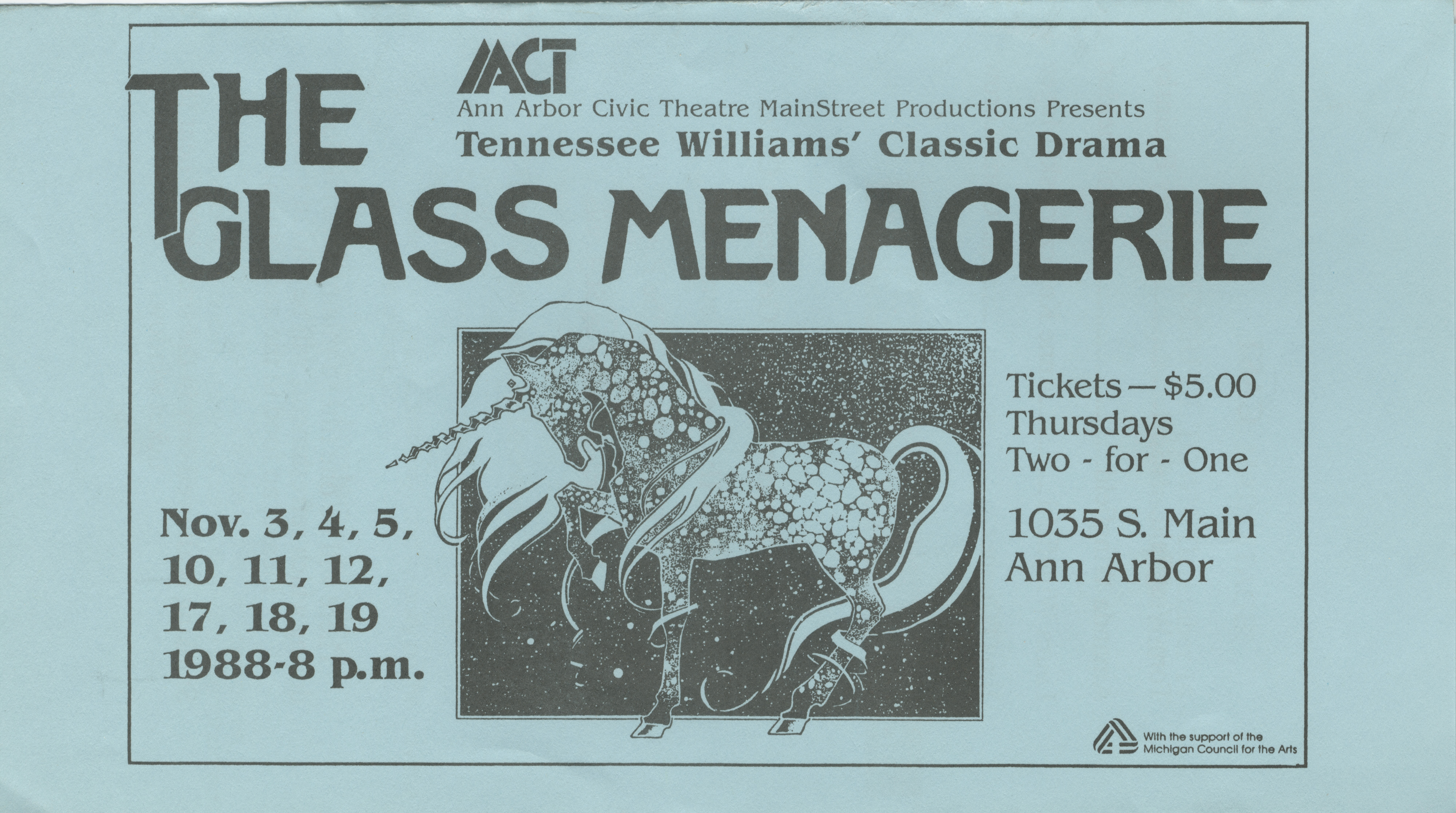 Ann Arbor Civic Theatre Program: The Glass Menagerie, November 03, 1988 image