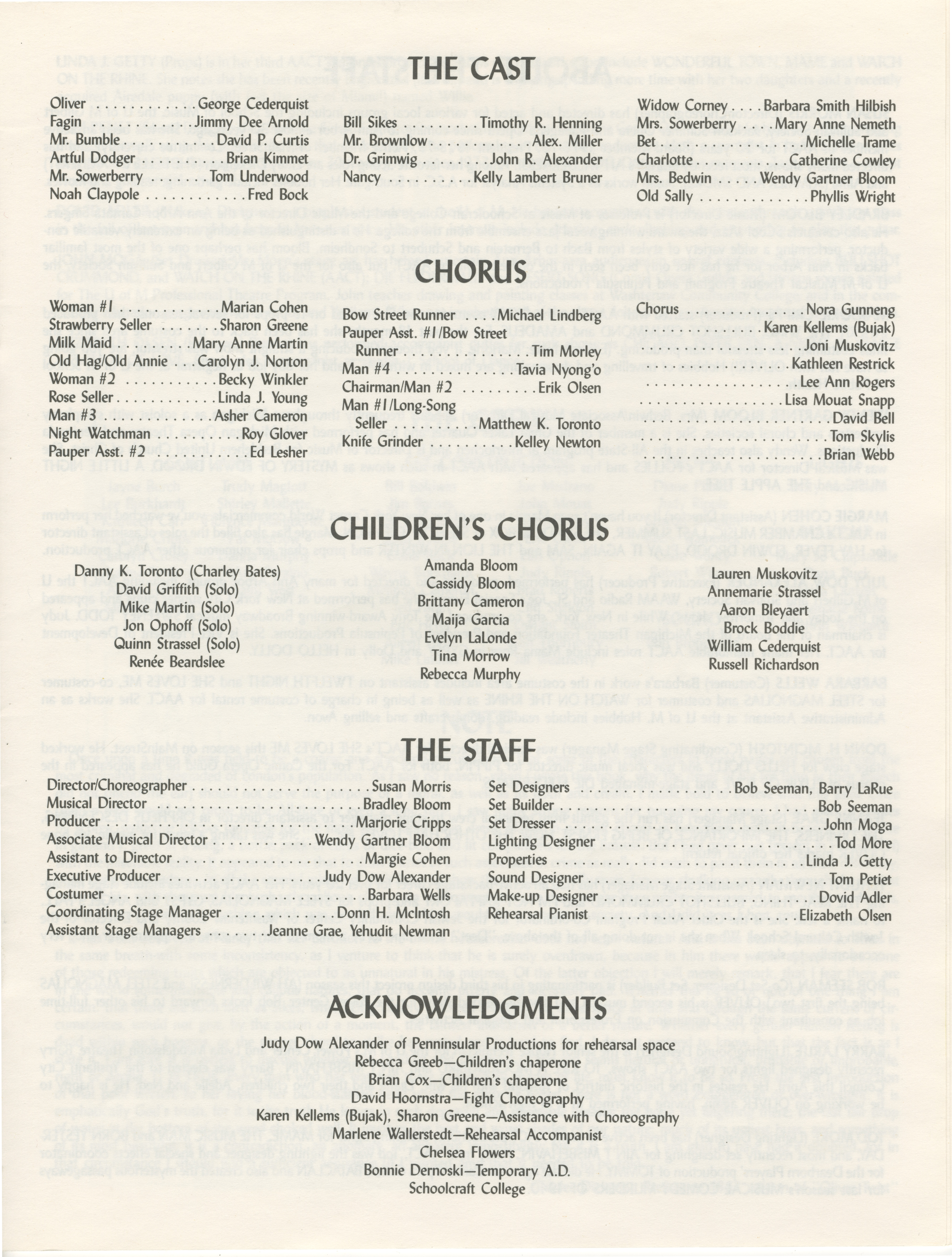 Ann Arbor Civic Theatre Program: Oliver!, May 15, 1991 image