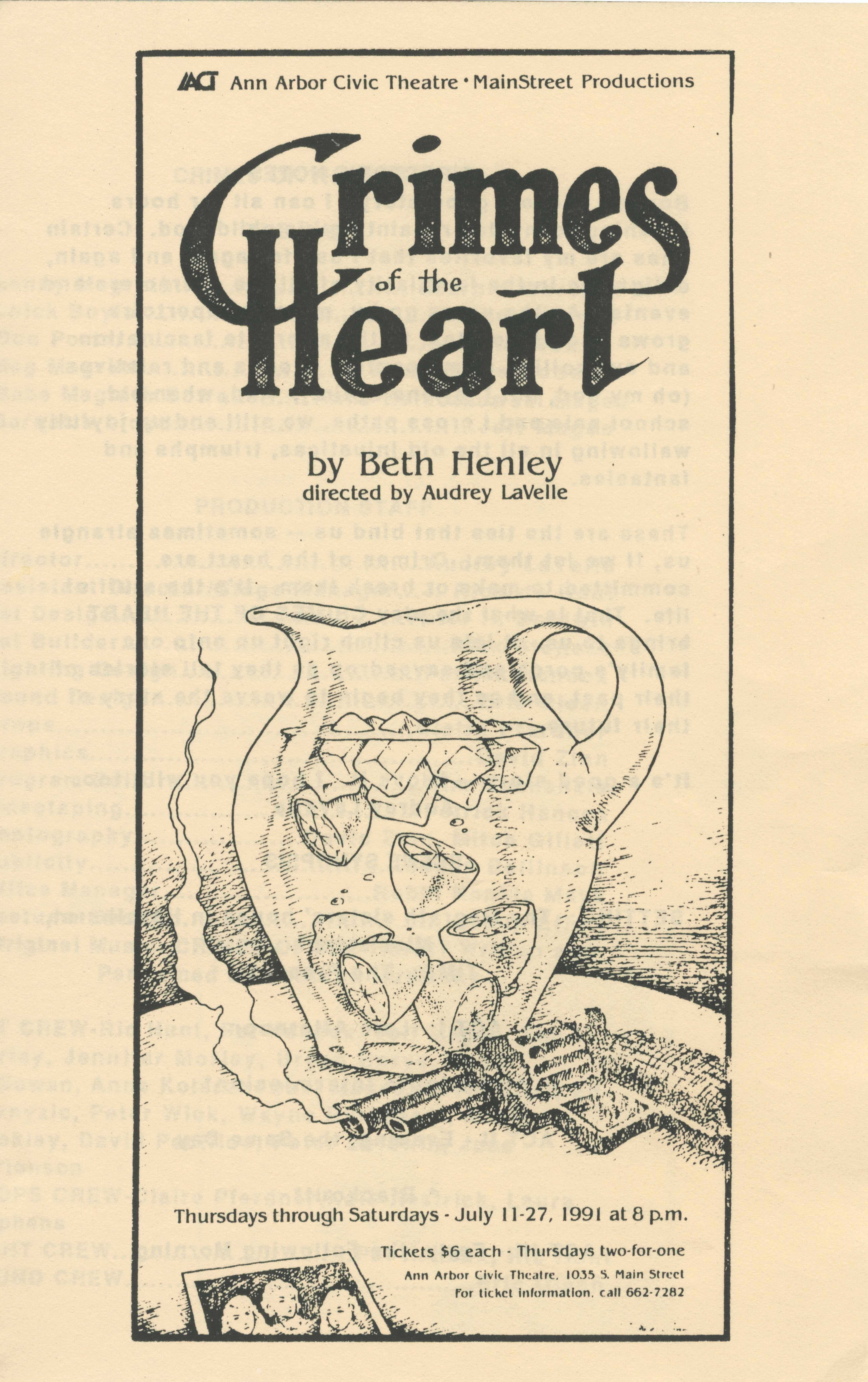 Ann Arbor Civic Theatre Program: Crimes of the Heart, July 11, 1991 image