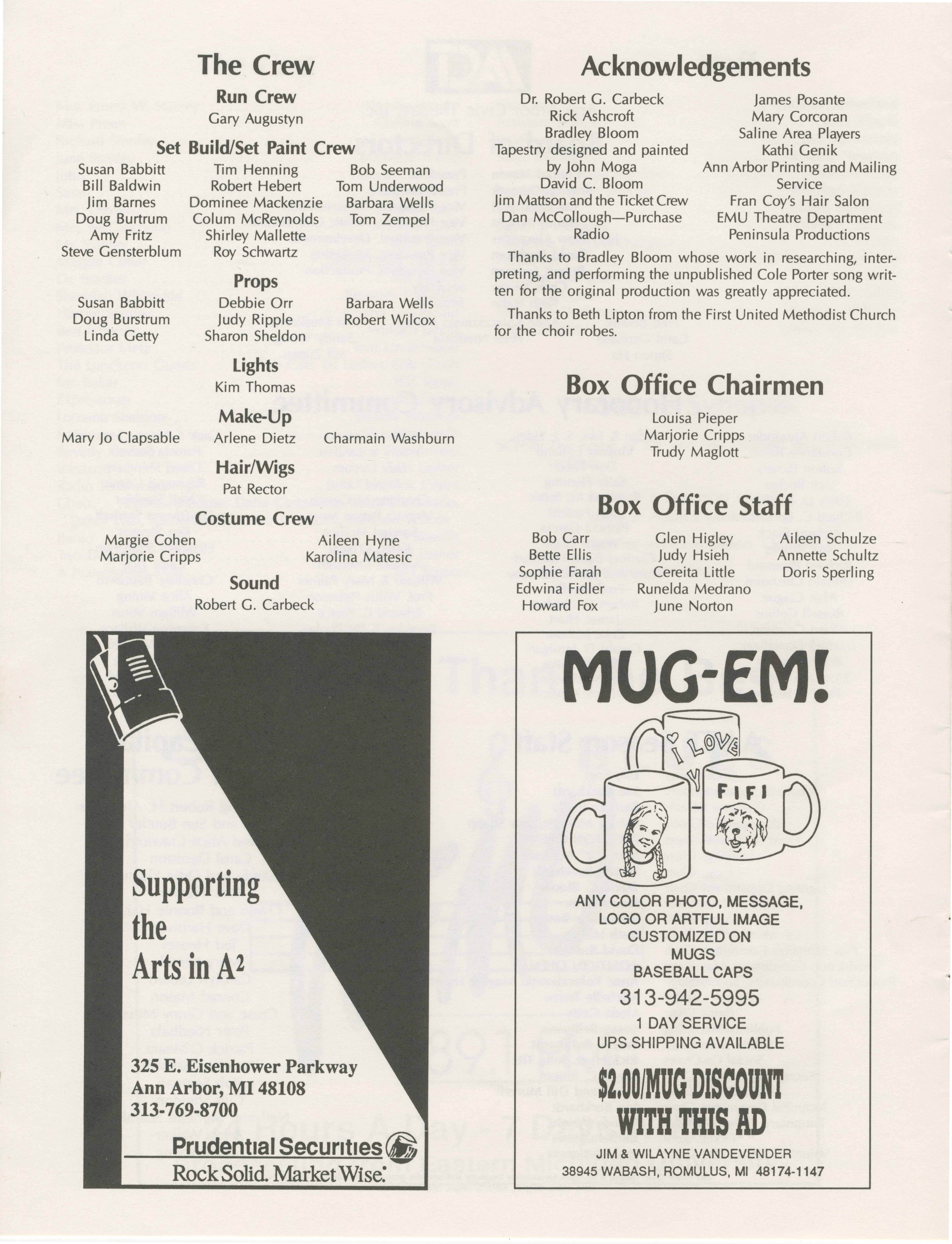 Ann Arbor Civic Theatre Program: The Man Who Came To Dinner, October 16, 1991 image