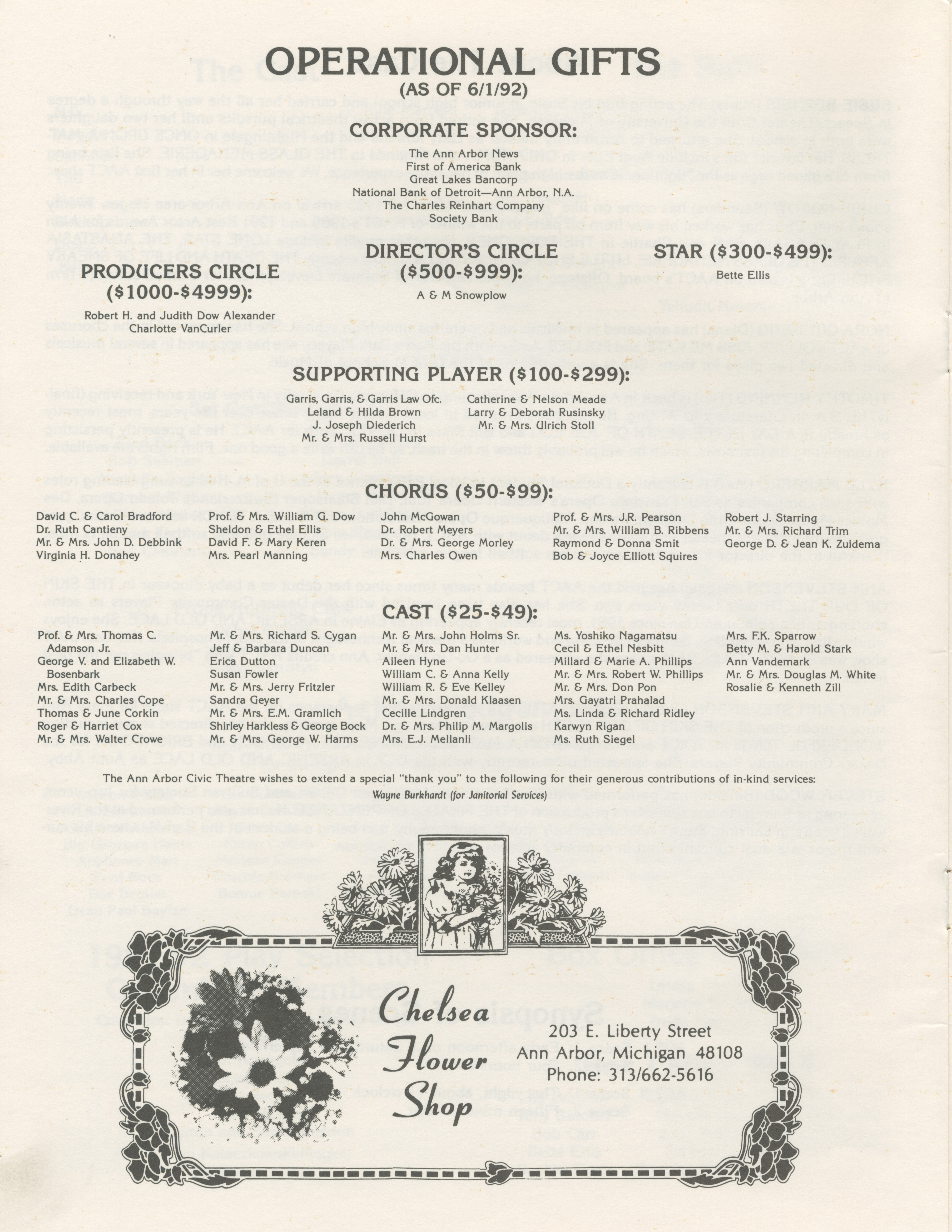 Ann Arbor Civic Theatre Program: Lend Me A Tenor, June 10, 1992 image