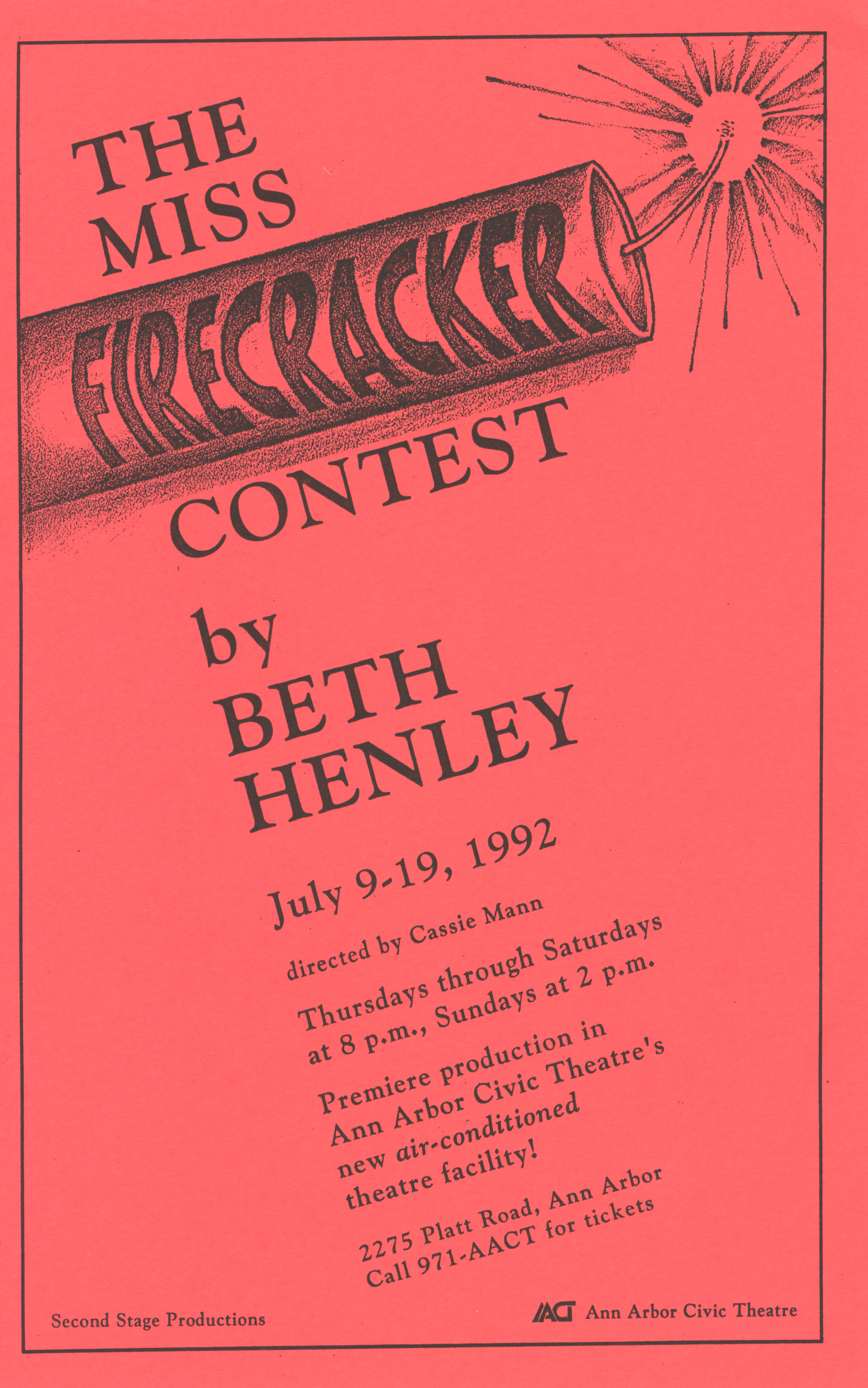 Ann Arbor Civic Theatre Program: The Miss Firecracker Contest, July 09, 1992 image