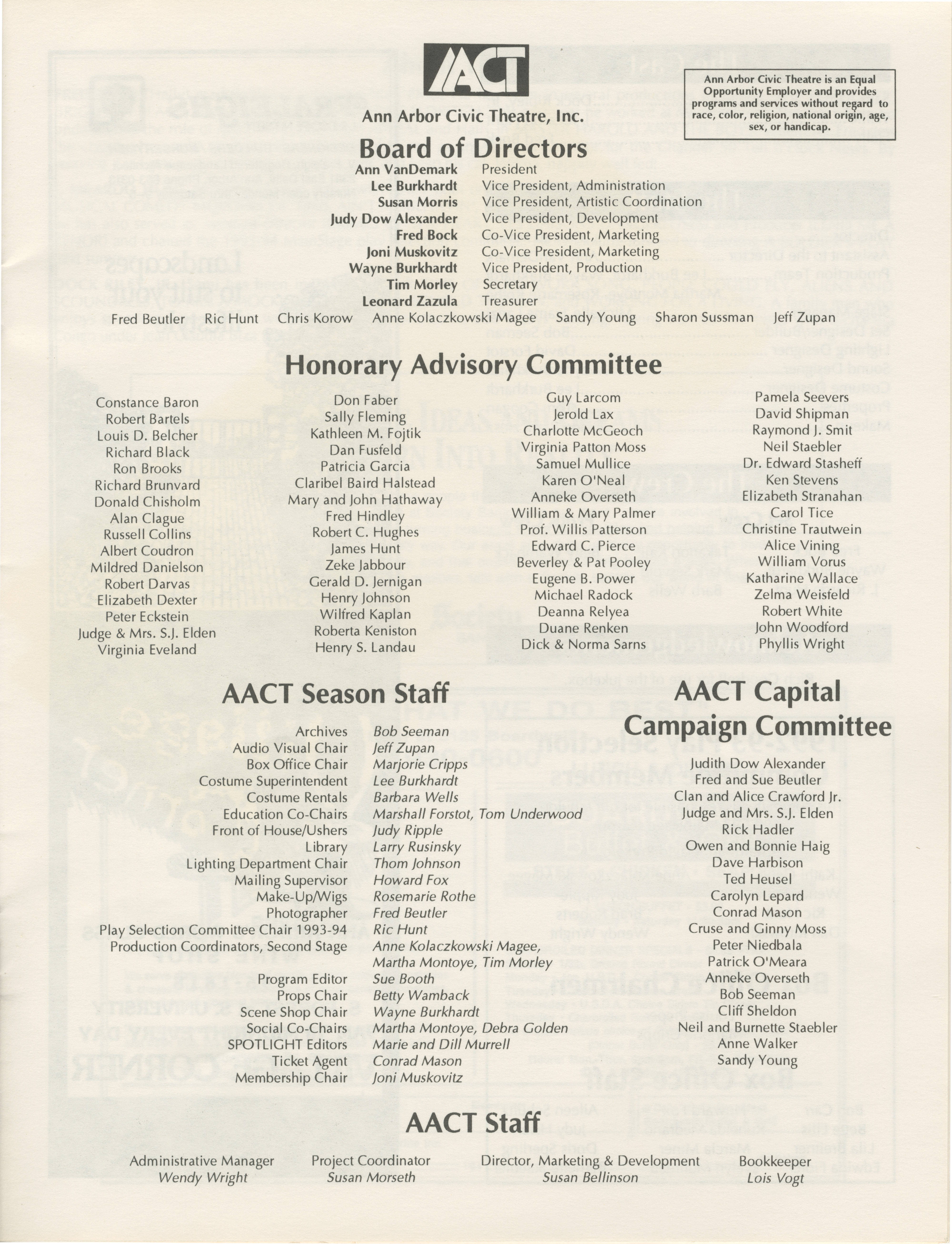"Ann Arbor Civic Theatre Program: ""Master Harold"" . . . And the boys, June 09, 1993 image"