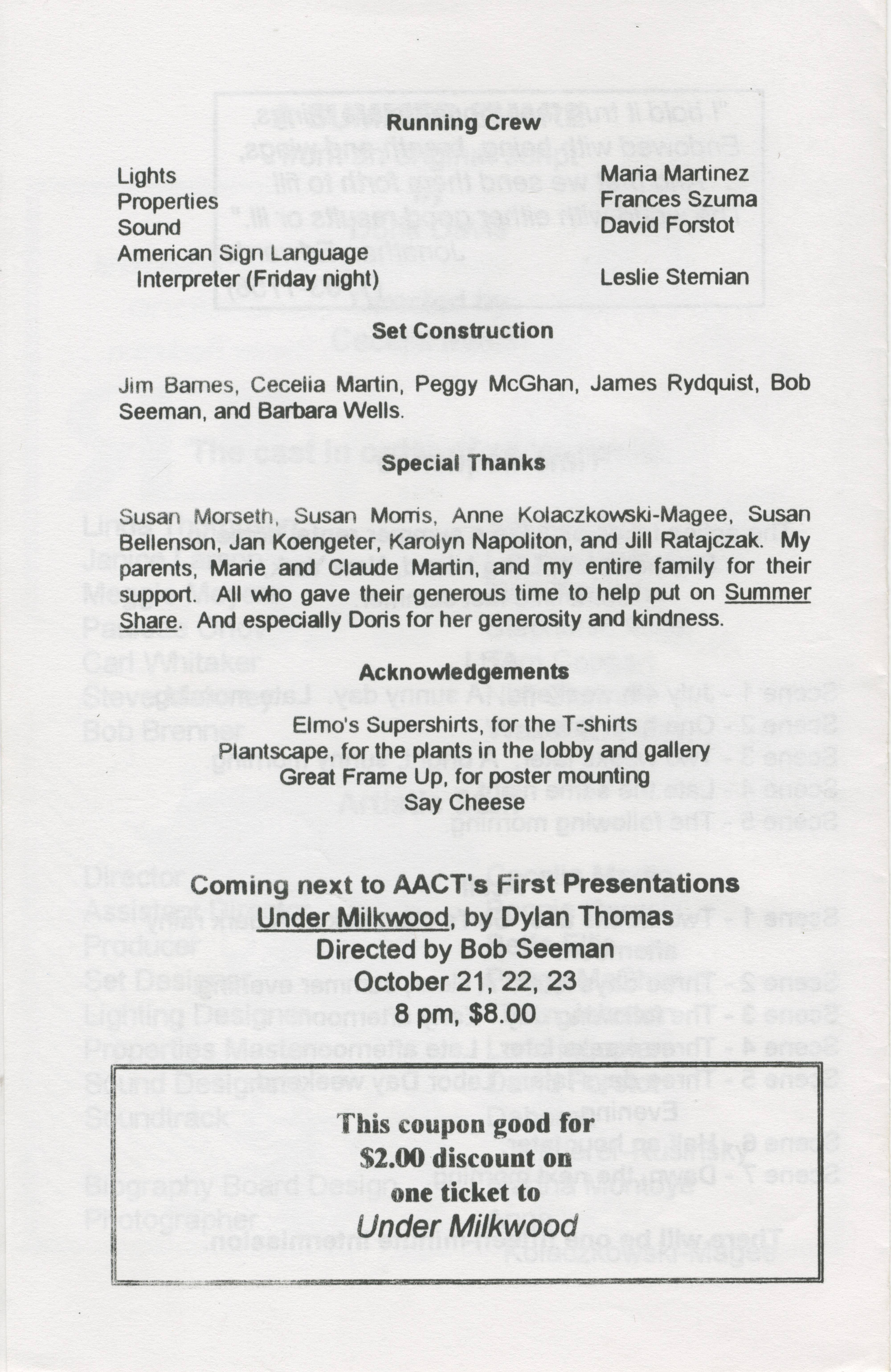 Ann Arbor Civic Theatre Program: A Summer Share, August 12, 1993 image