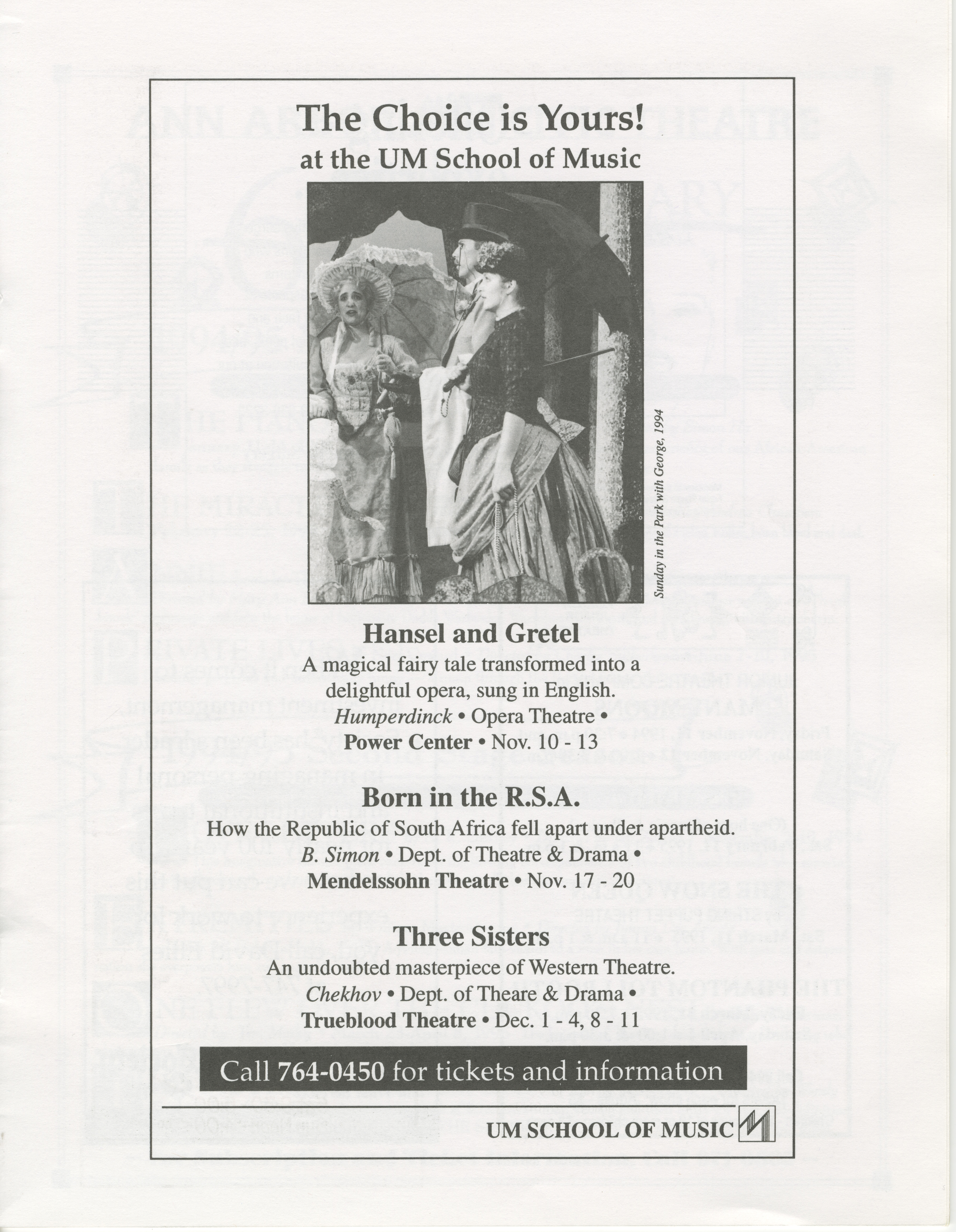 Ann Arbor Civic Theatre Program: South Pacific, October 26, 1994 image