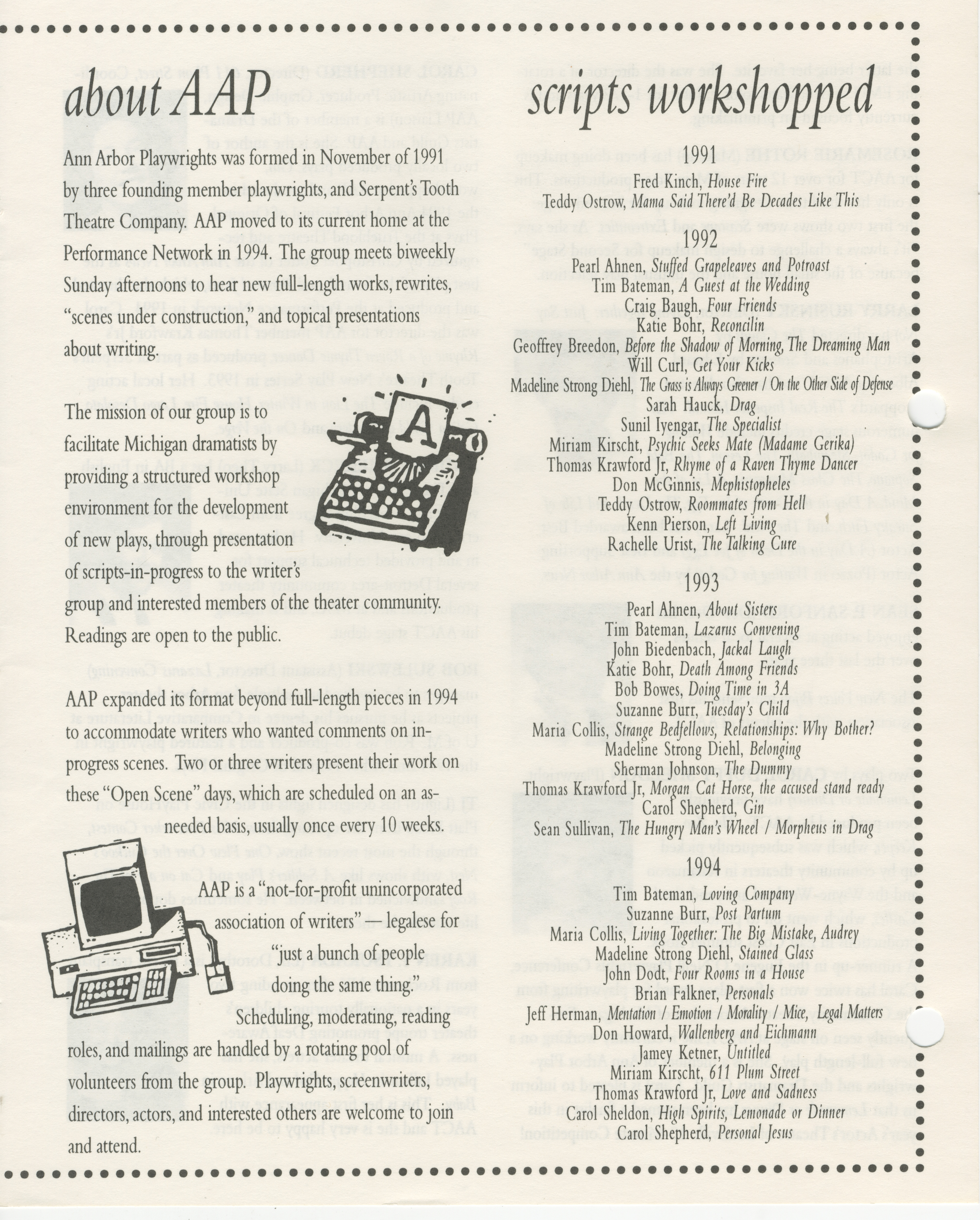 Ann Arbor Civic Theatre Program: New Voices , May 11, 1995 image