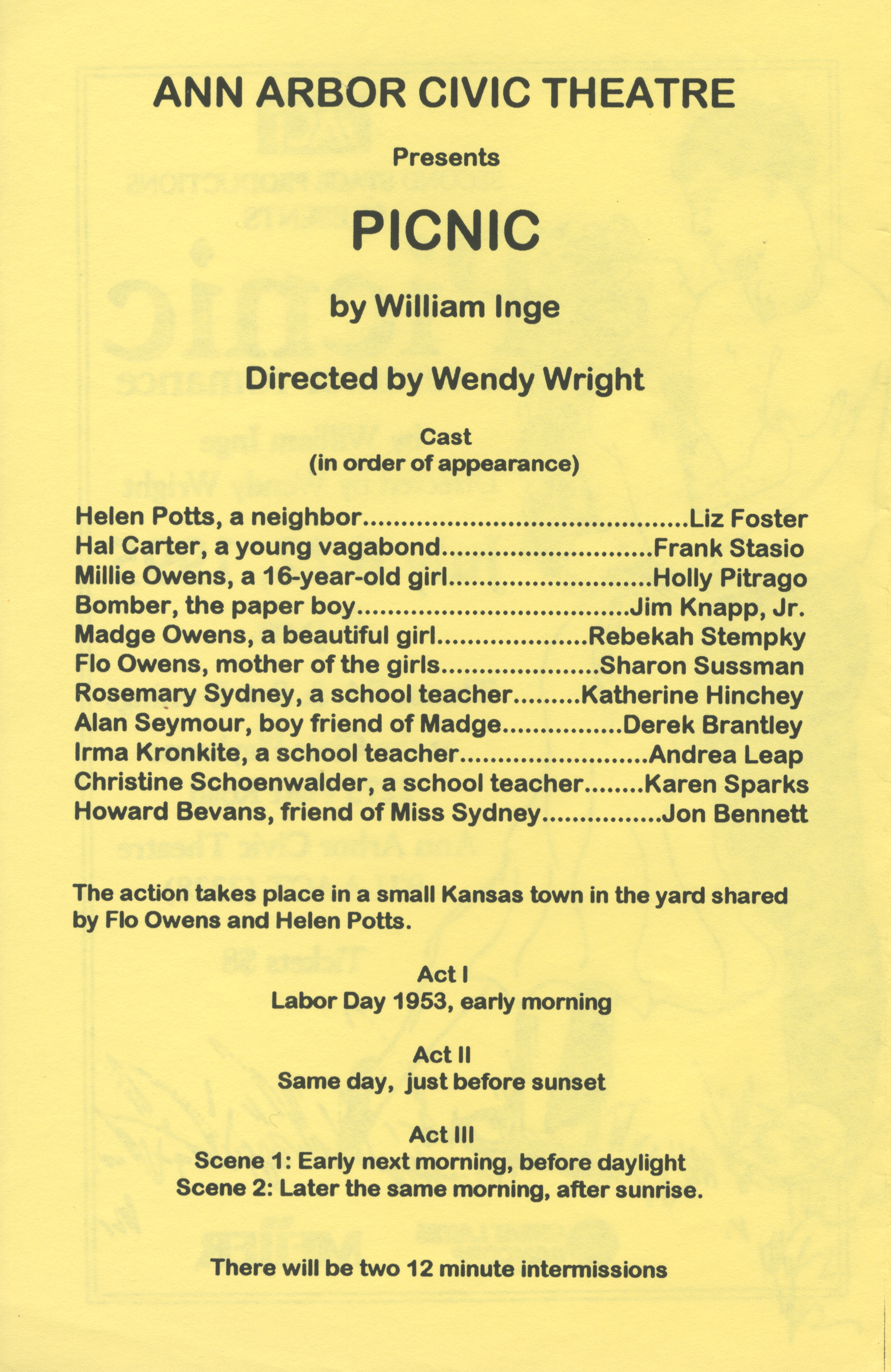 Ann Arbor Civic Theatre Program: Picnic, July 06, 1995 image