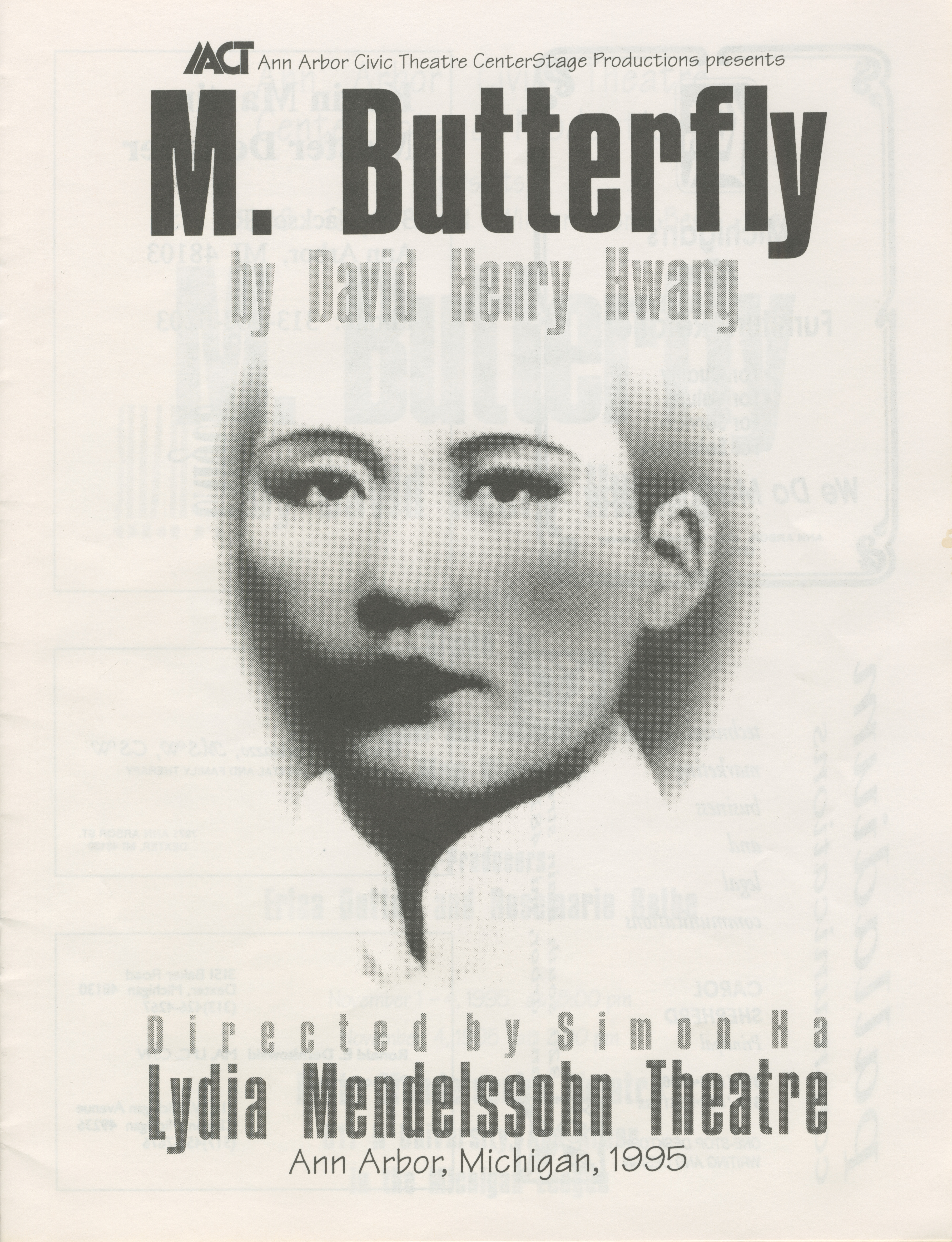 Ann Arbor Civic Theatre Program M Butterfly November 01 1995 Ann Arbor District Library