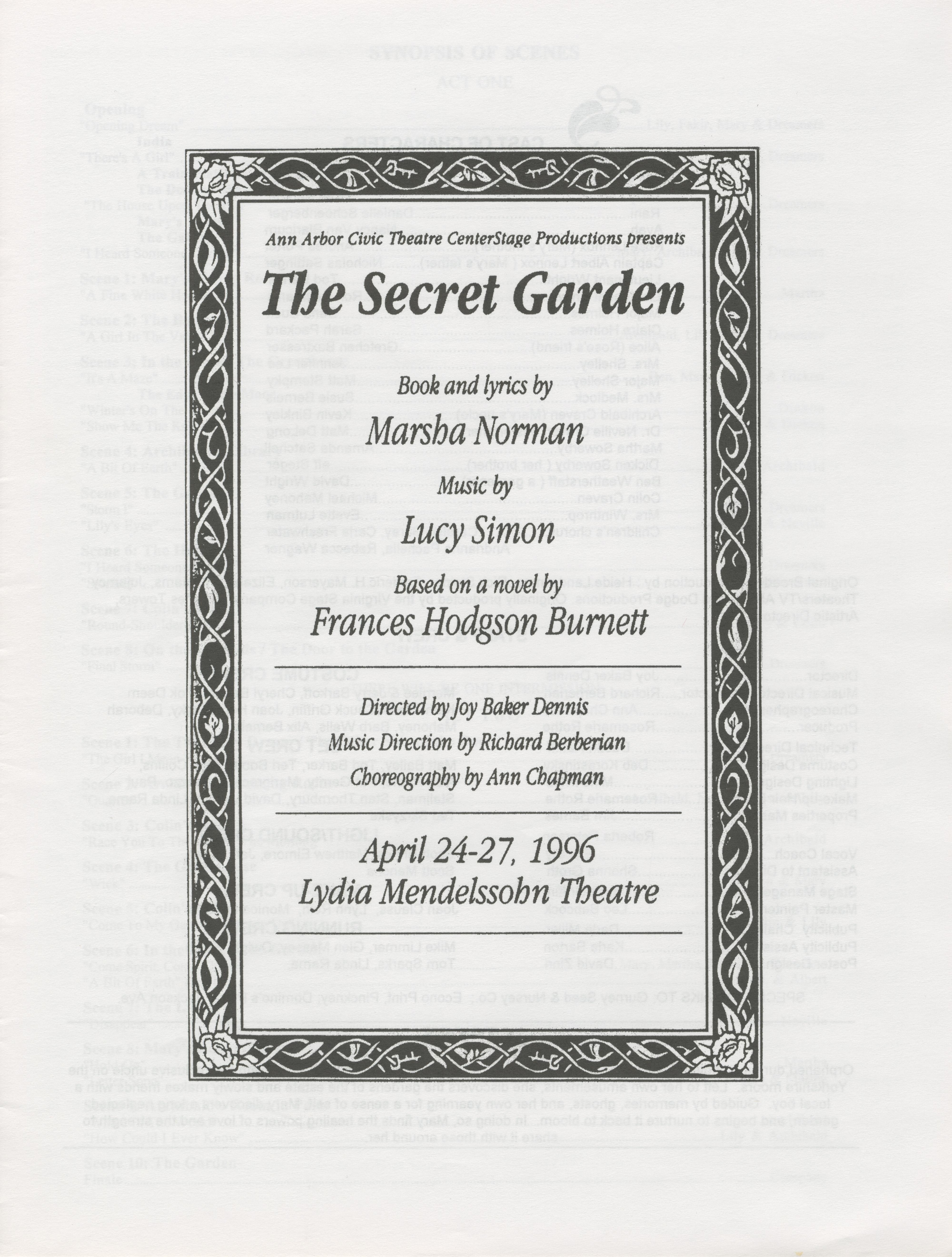 Ann arbor civic theatre program the secret garden april 24 1996 ann arbor civic theatre program the secret garden april 24 1996 stopboris Gallery