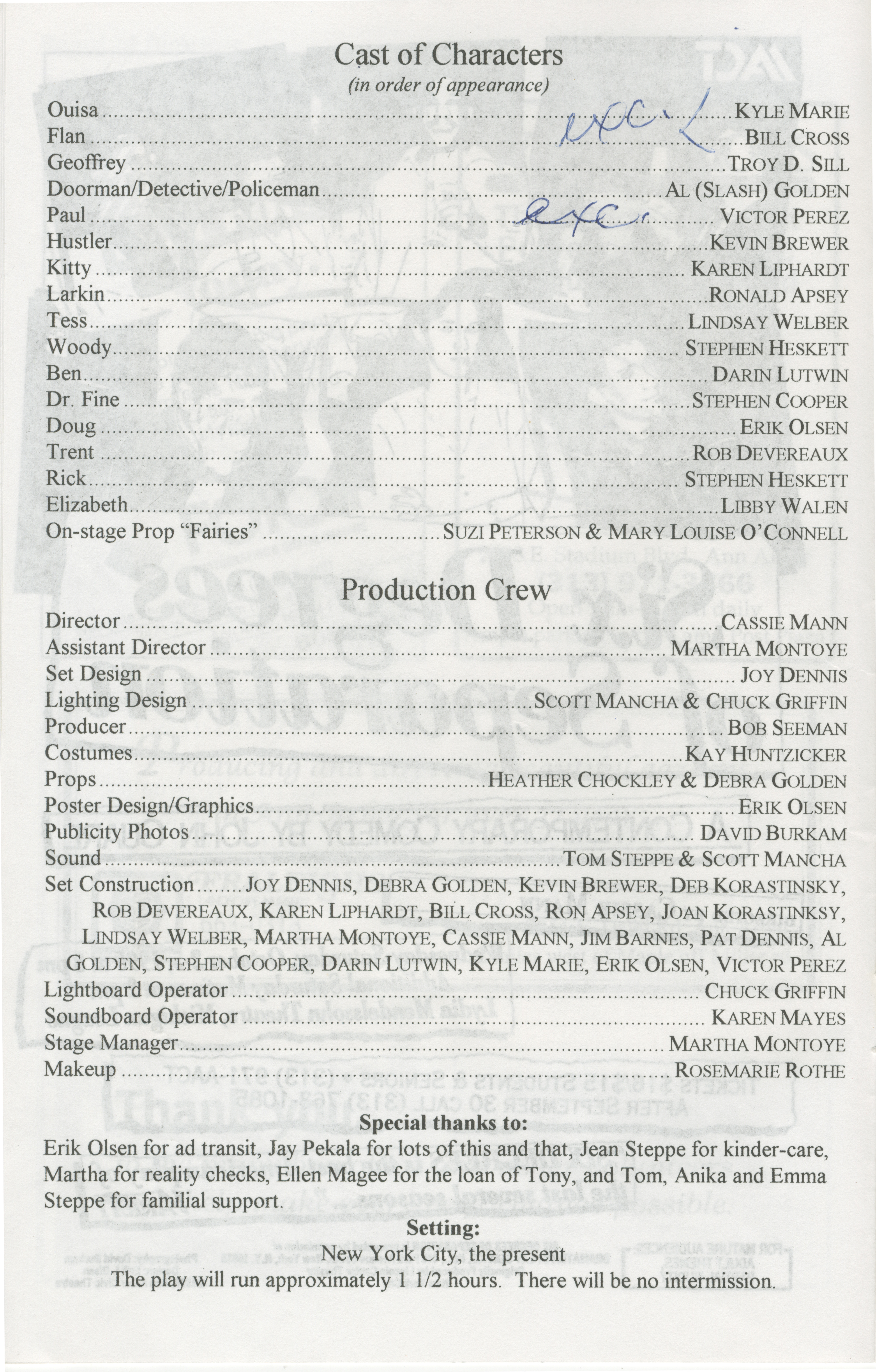 Ann Arbor Civic Theatre Program: Six Degrees of Separation, October 02, 1996 image