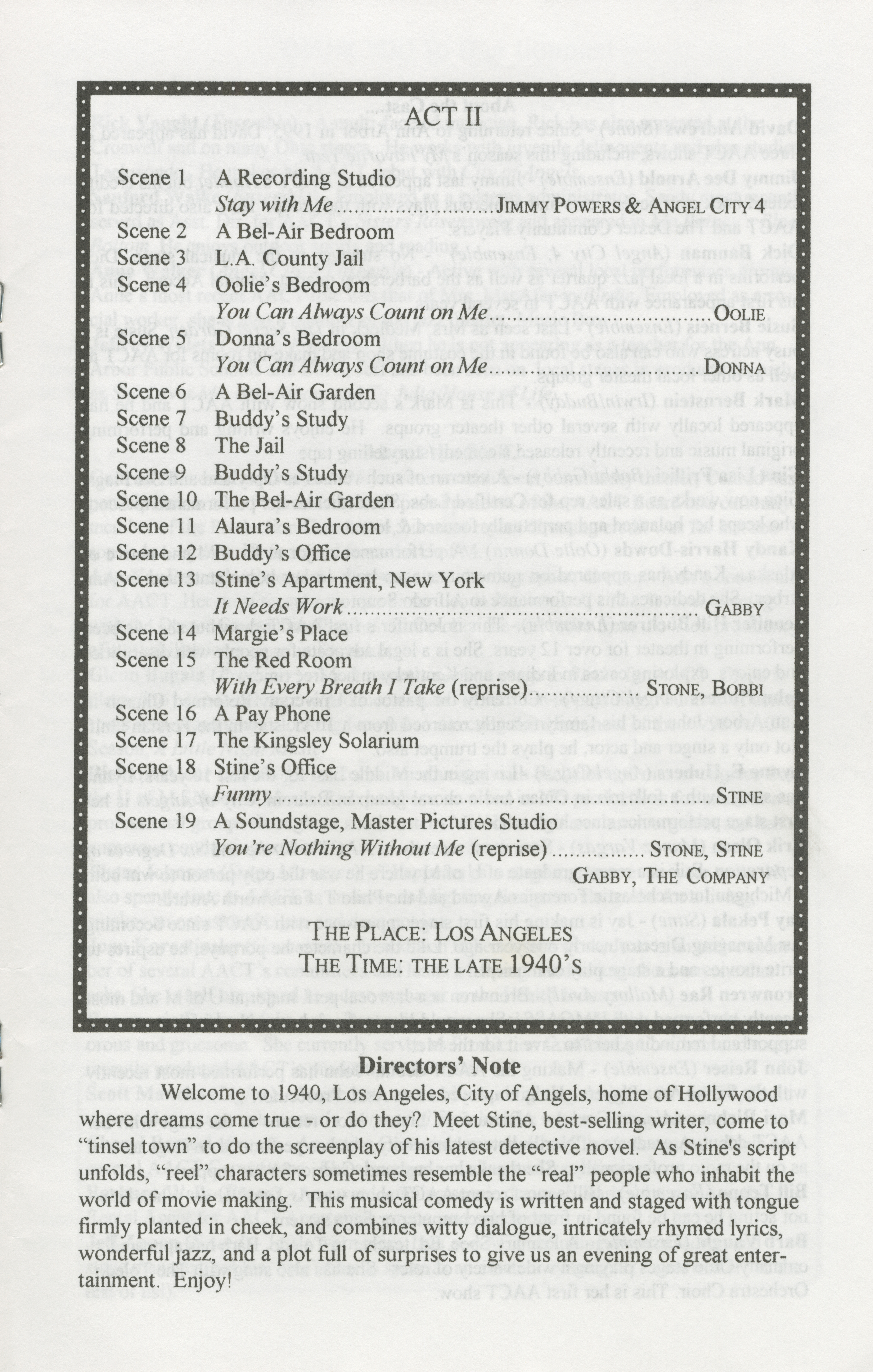 Ann Arbor Civic Theatre Program: City Of Angels, May 07, 1997 image