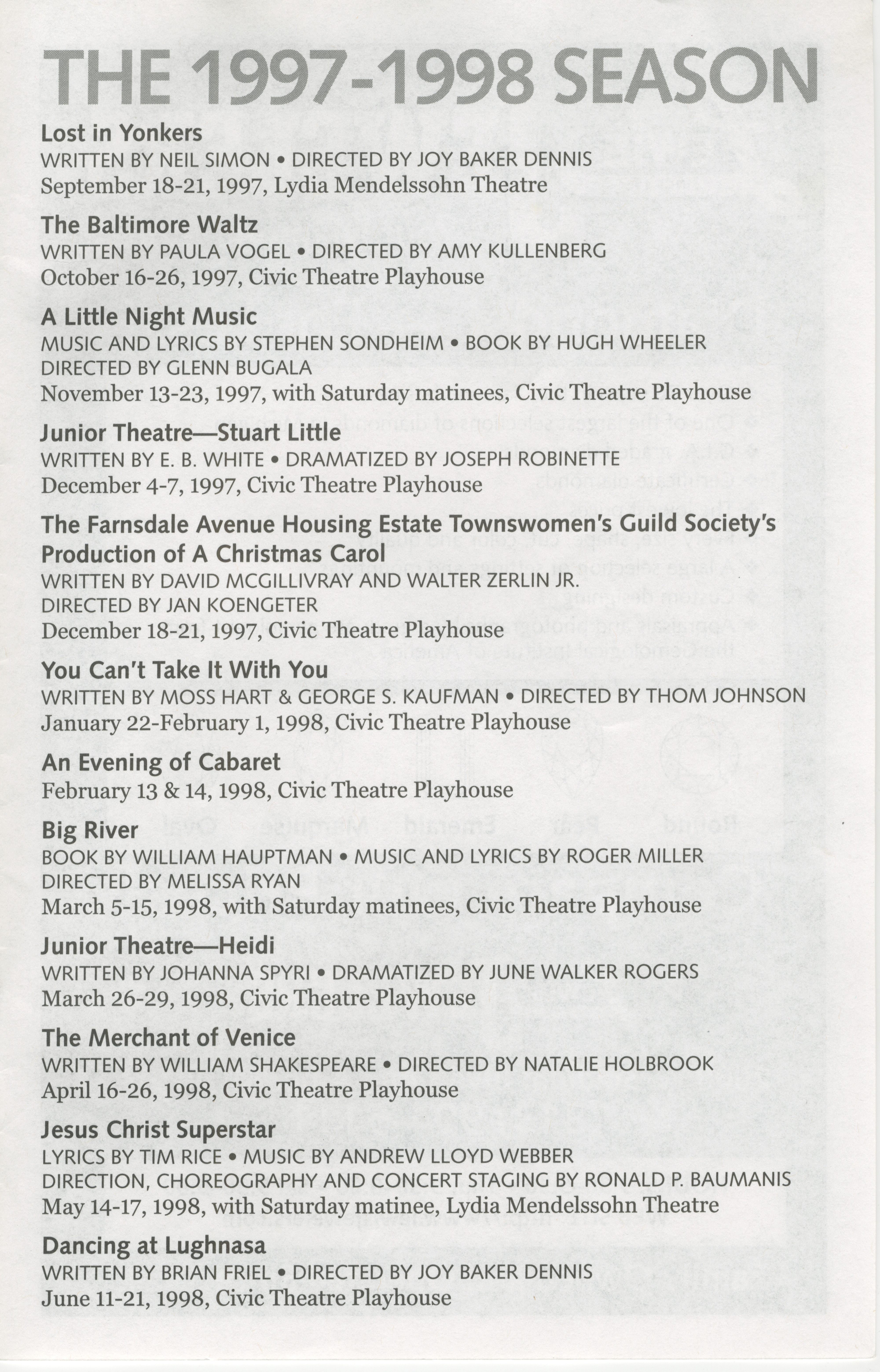 Ann Arbor Civic Theatre Program Lost In Yonkers September 18 1997