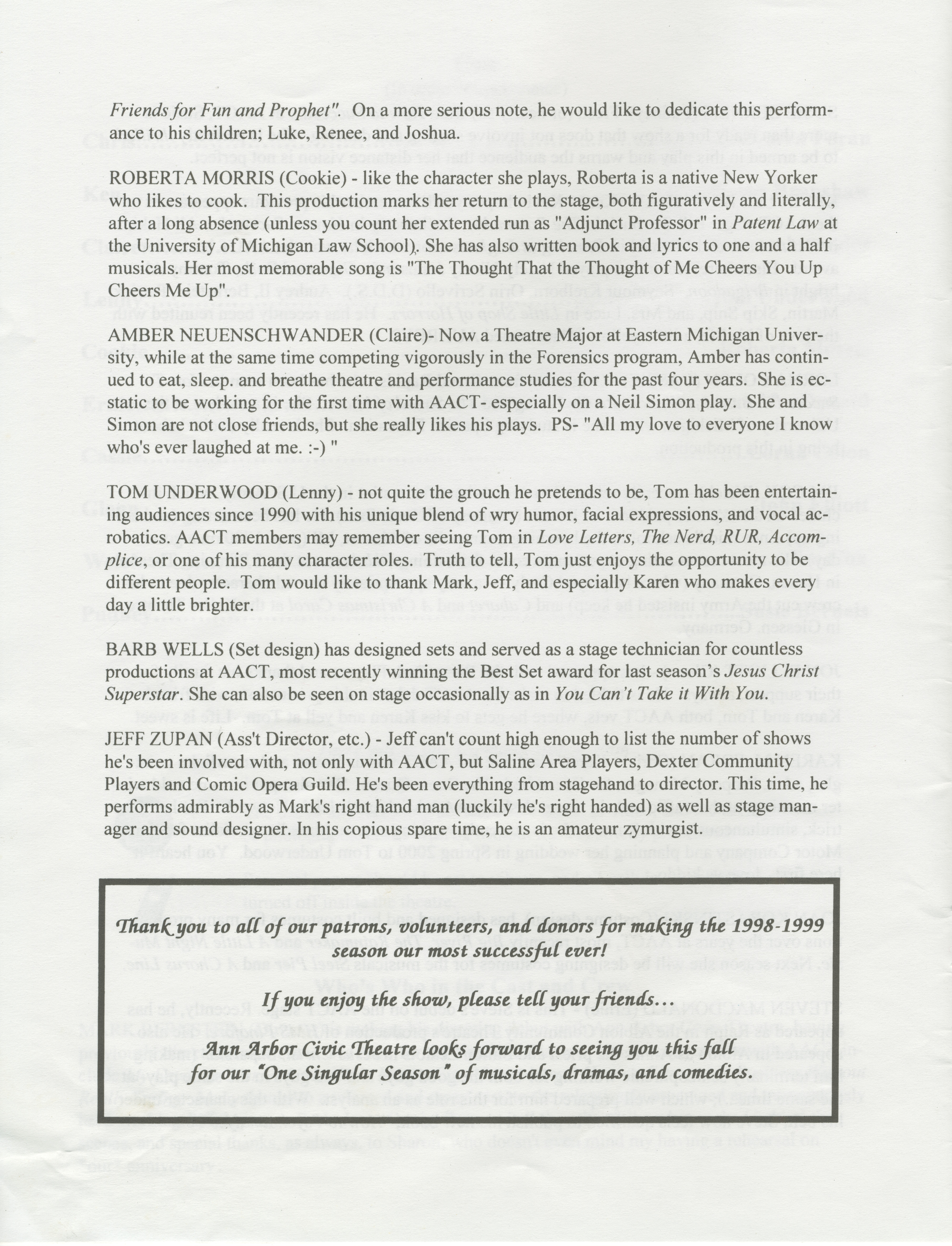 Ann Arbor Civic Theatre Program: Rumors, June 17, 1999 image