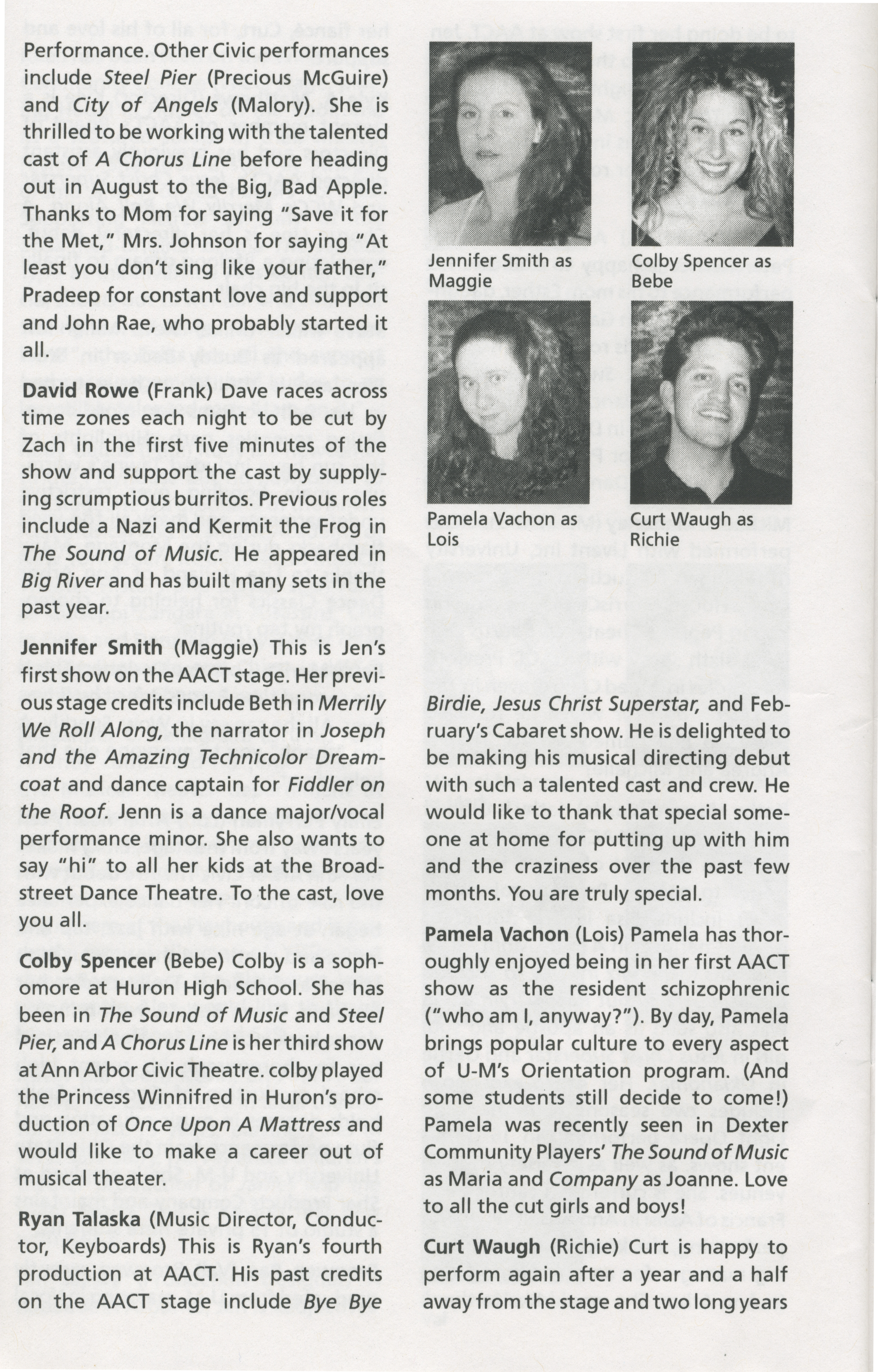 Ann Arbor Civic Theatre Program: A Chorus Line, May 03, 2000 image