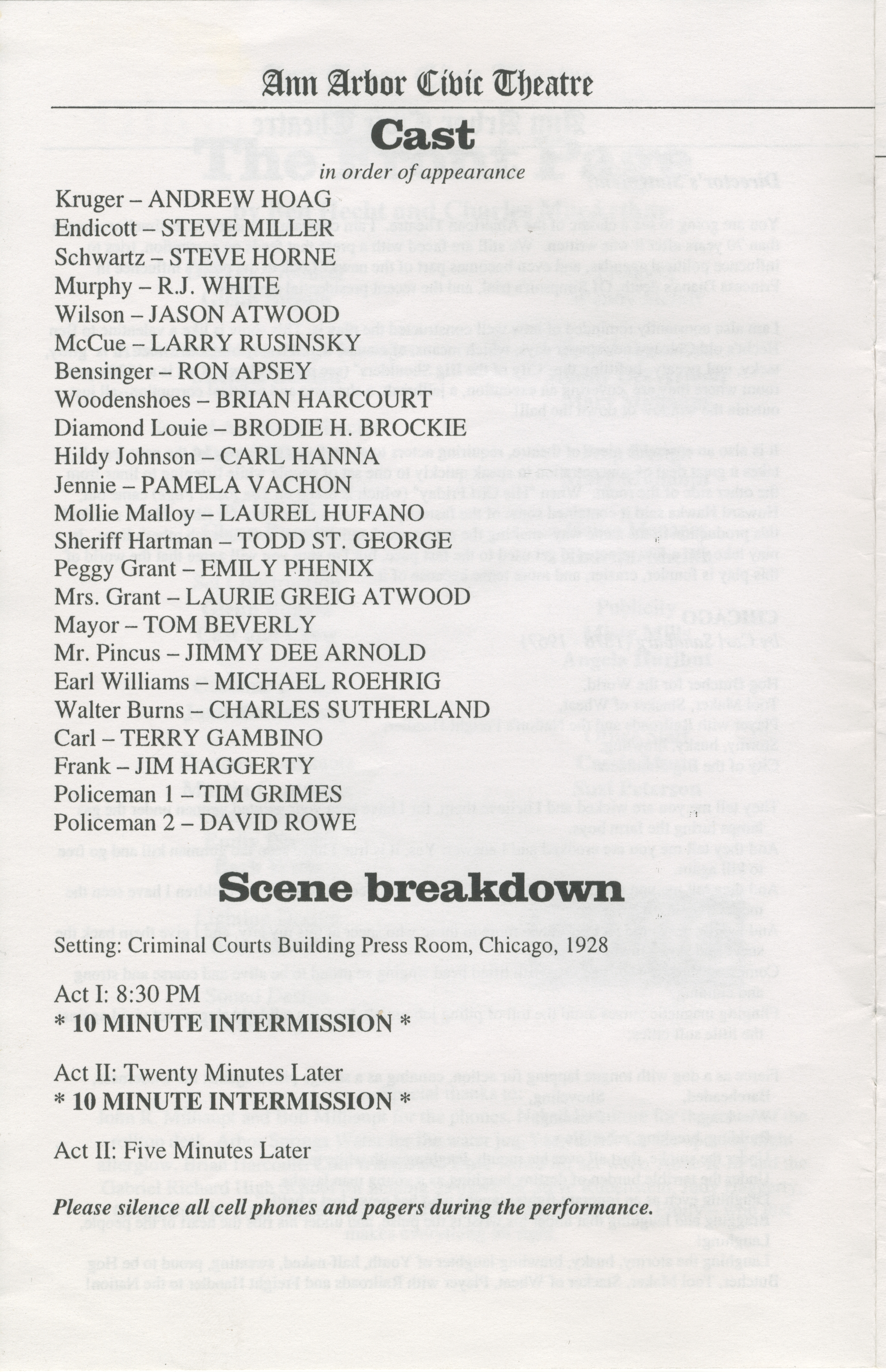 Ann Arbor Civic Theatre Program: The Front Page, March 08, 2001 image