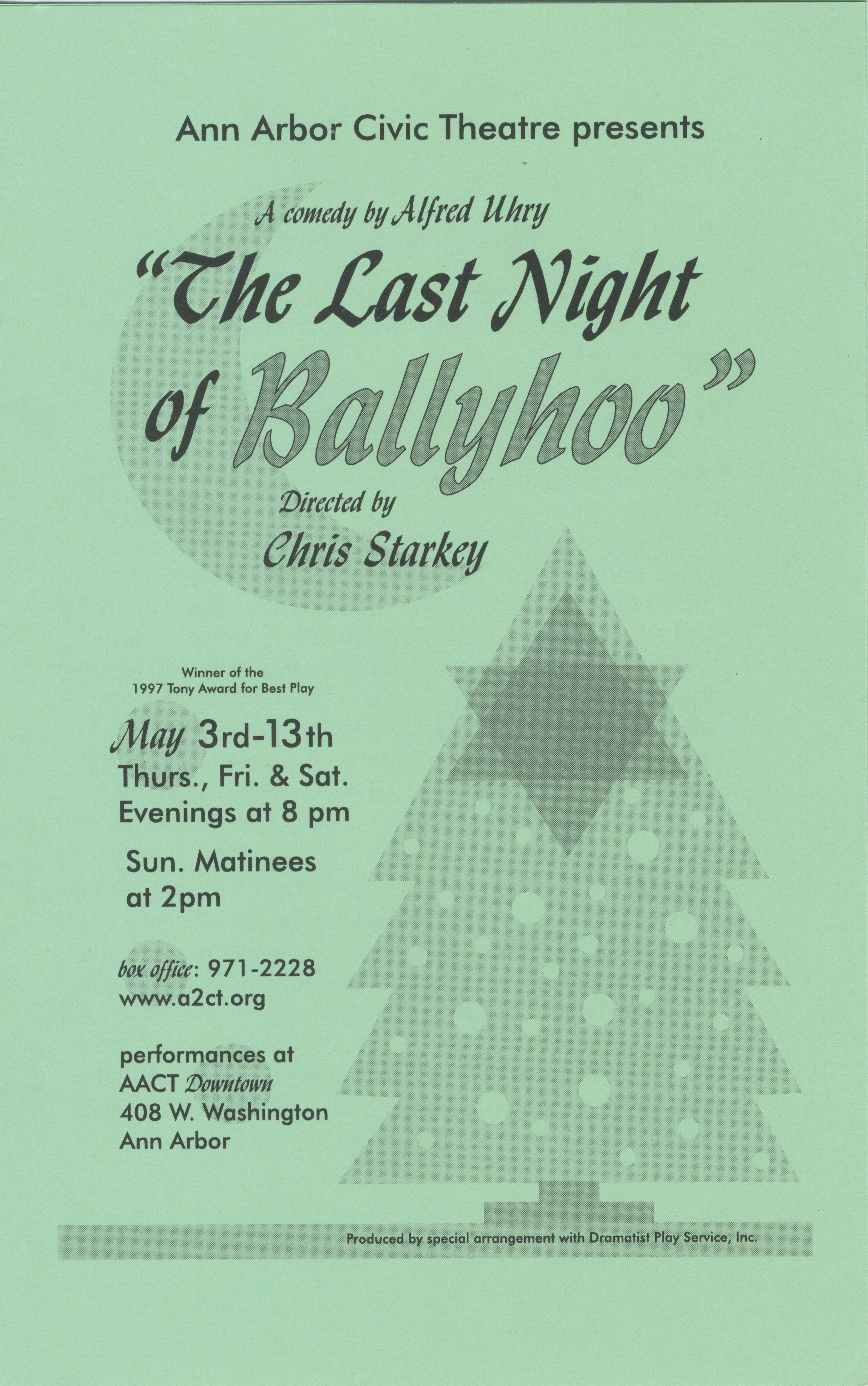Ann Arbor Civic Theatre Program: The Last Night of Ballyhoo, May 03, 2001 image