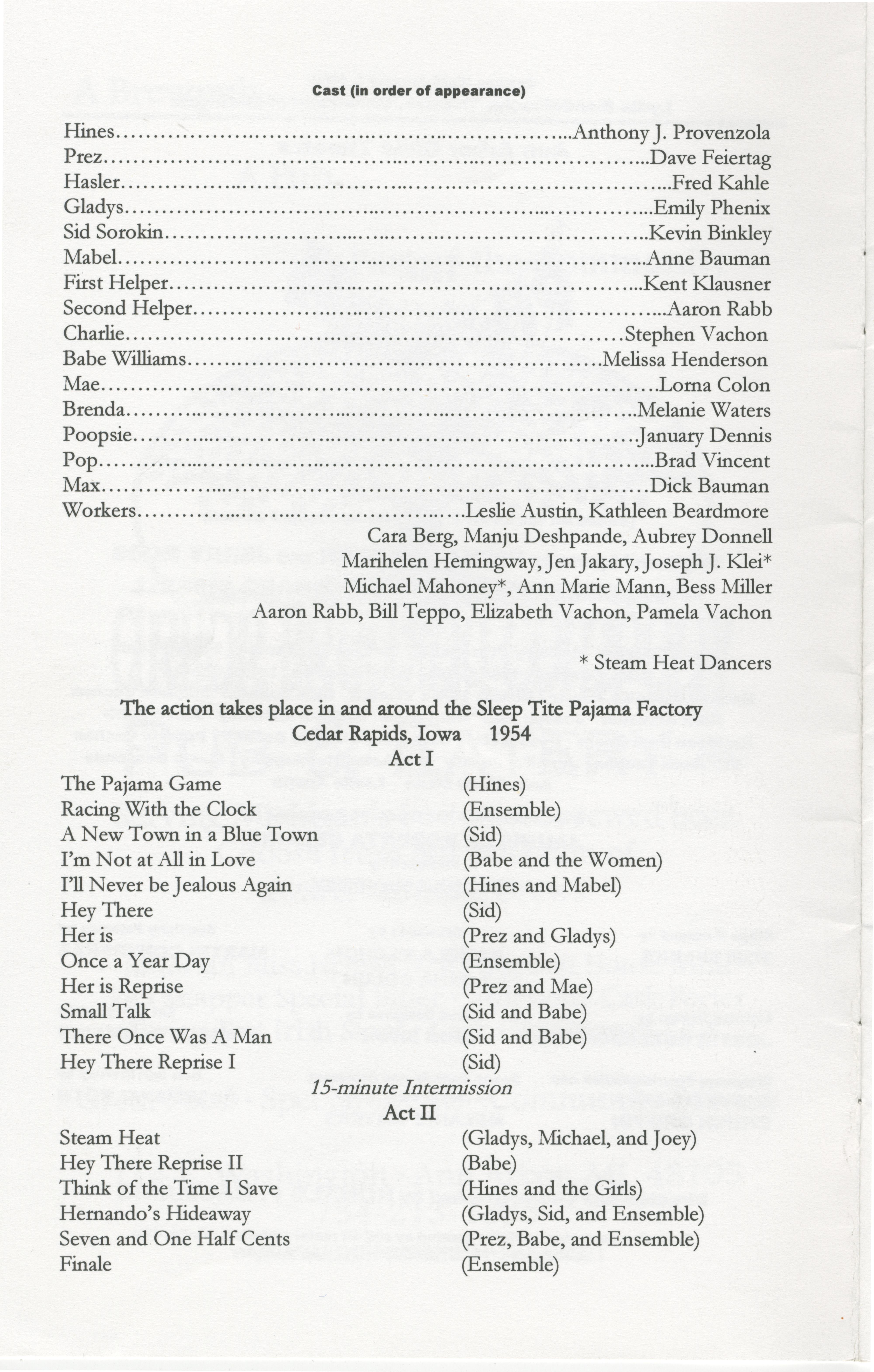 Ann Arbor Civic Theatre Program The Pajama Game January 03 2002