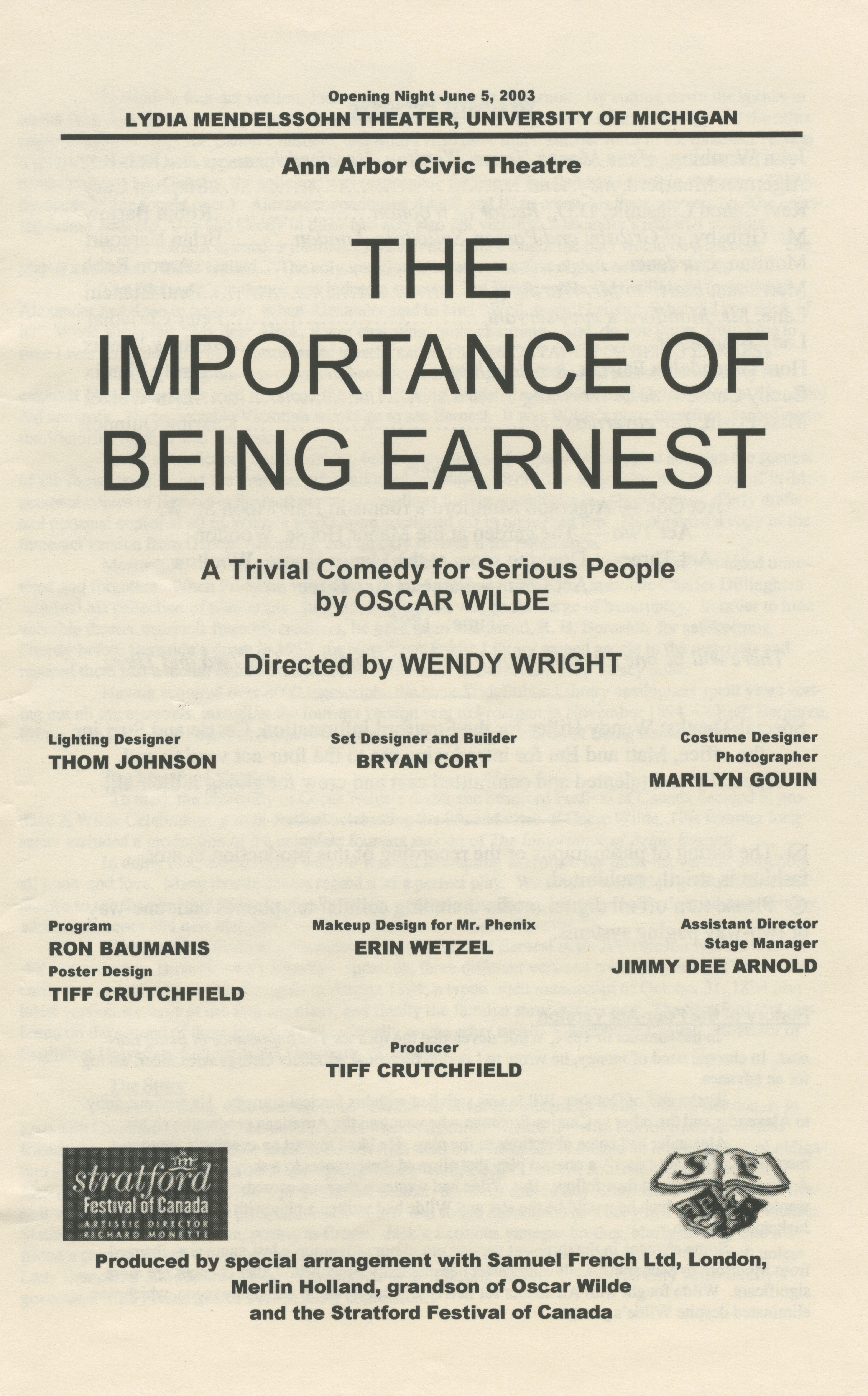 Ann Arbor Civic Theatre Program: The Importance Of Being Earnest, June 05, 2003 image