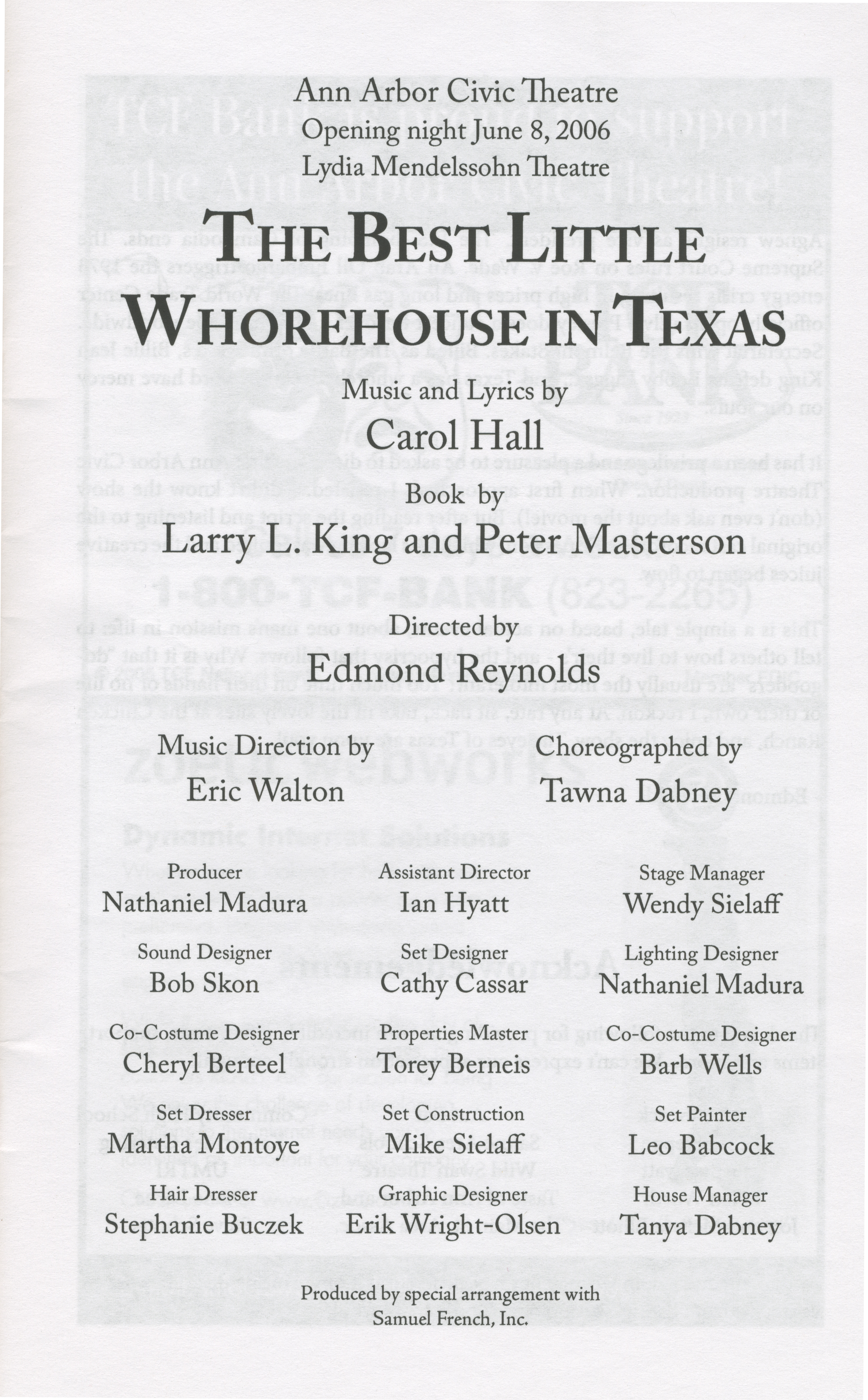 Ann Arbor Civic Theatre Program: The Best Little Whorehouse in Texas, June 08, 2006 image