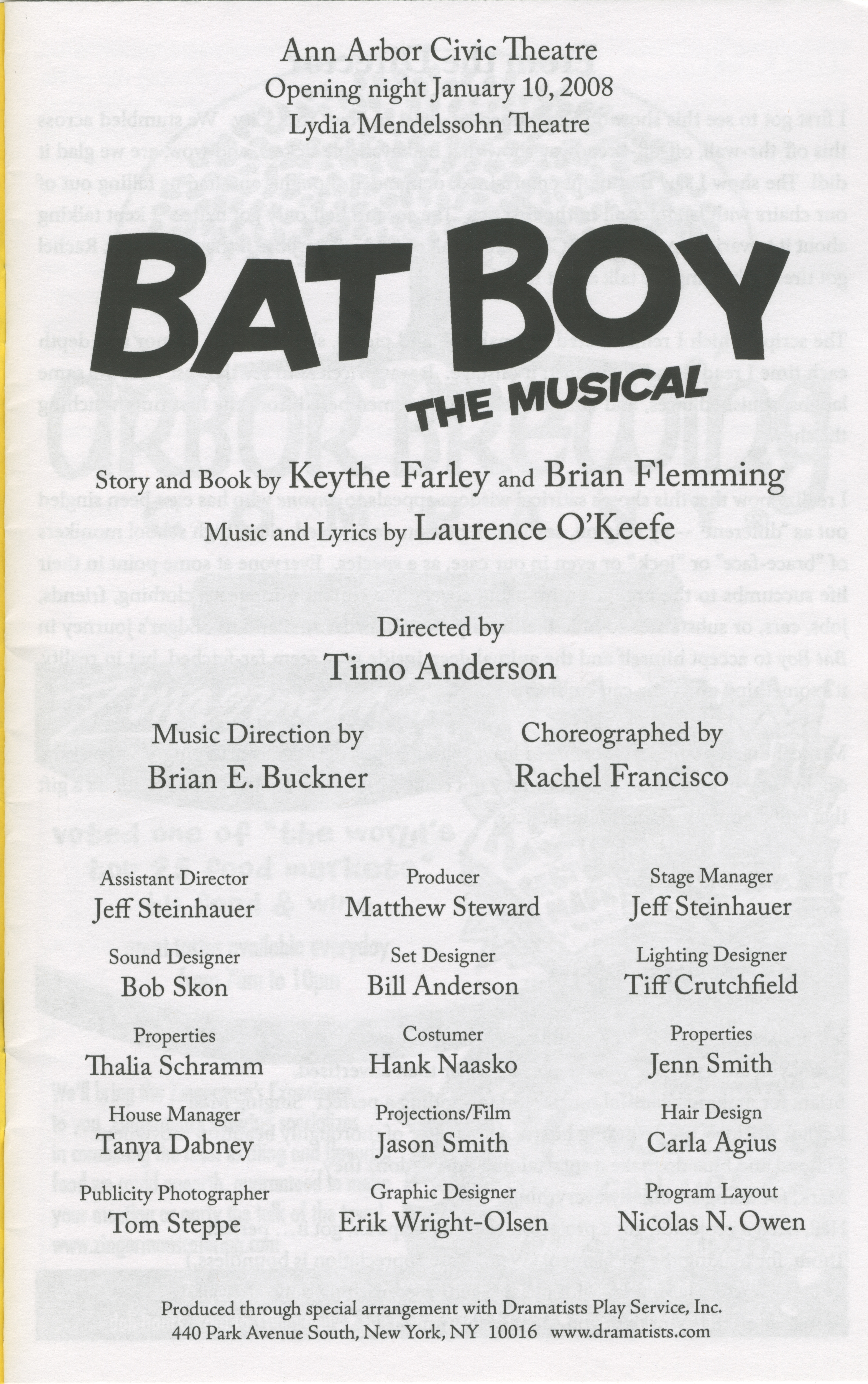 Ann Arbor Civic Theatre Program: Bat Boy The Musical, January 10, 2008 image
