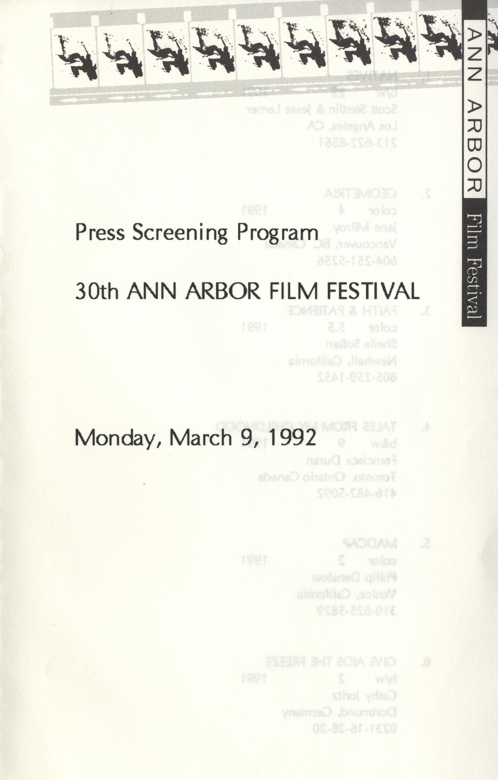 Press Screening Program for 30th Ann Arbor Film Festival image