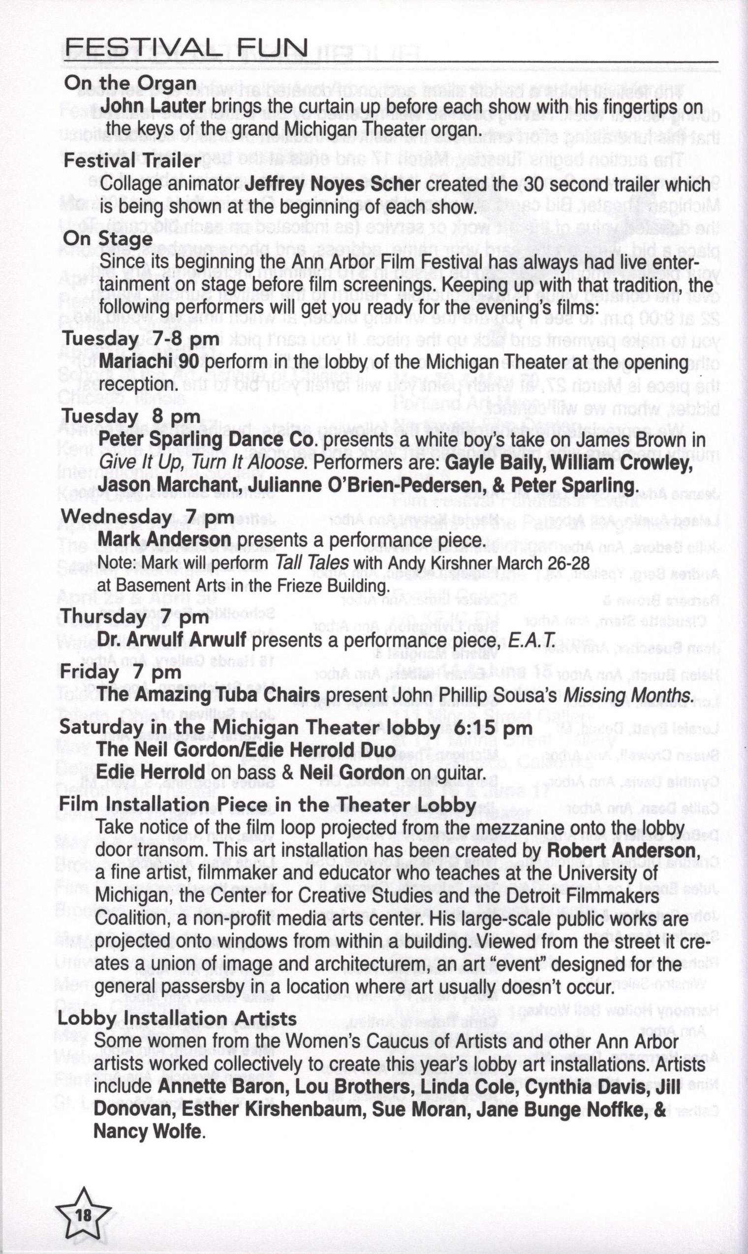 36th Ann Arbor Film Festival Program Image