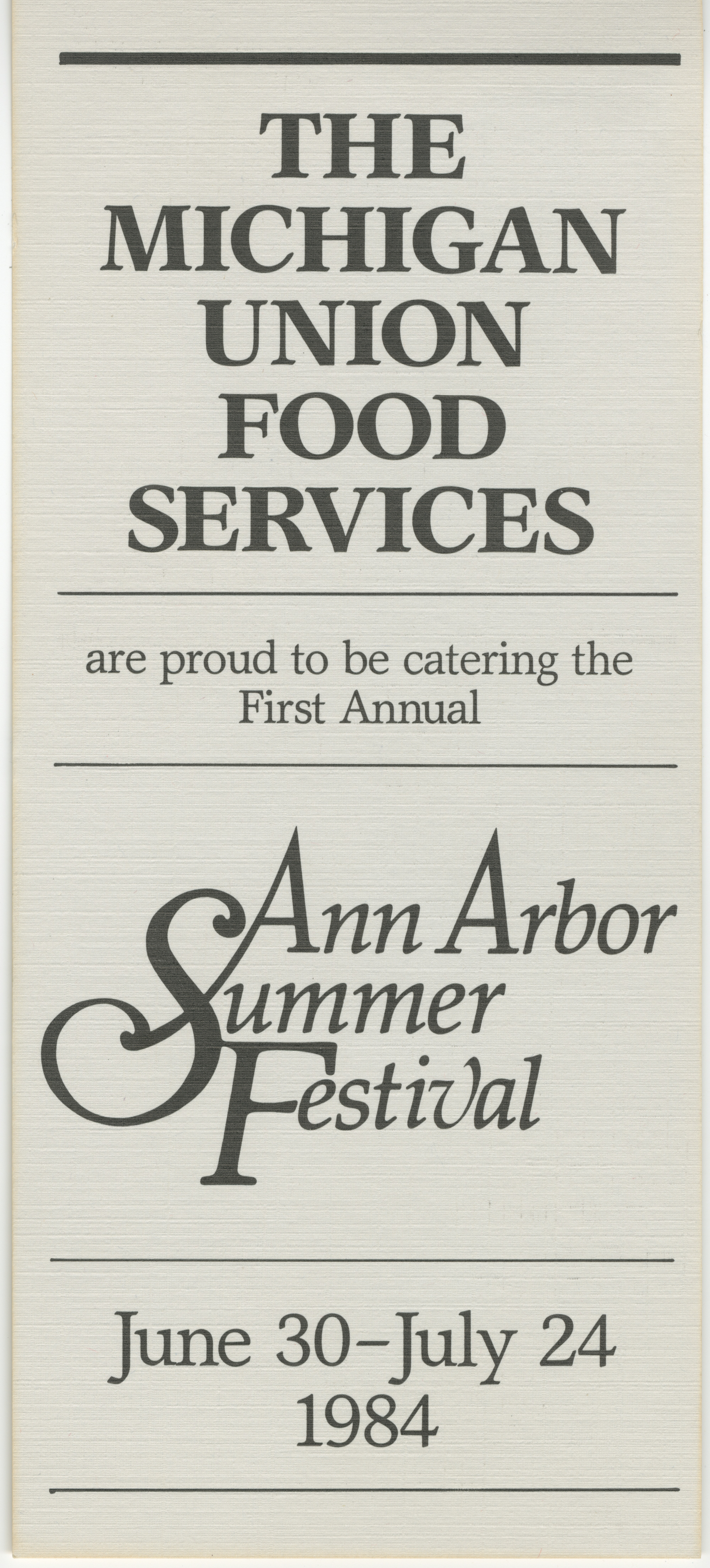 1984 Ann Arbor Summer Festival: Michigan Union Food Services image