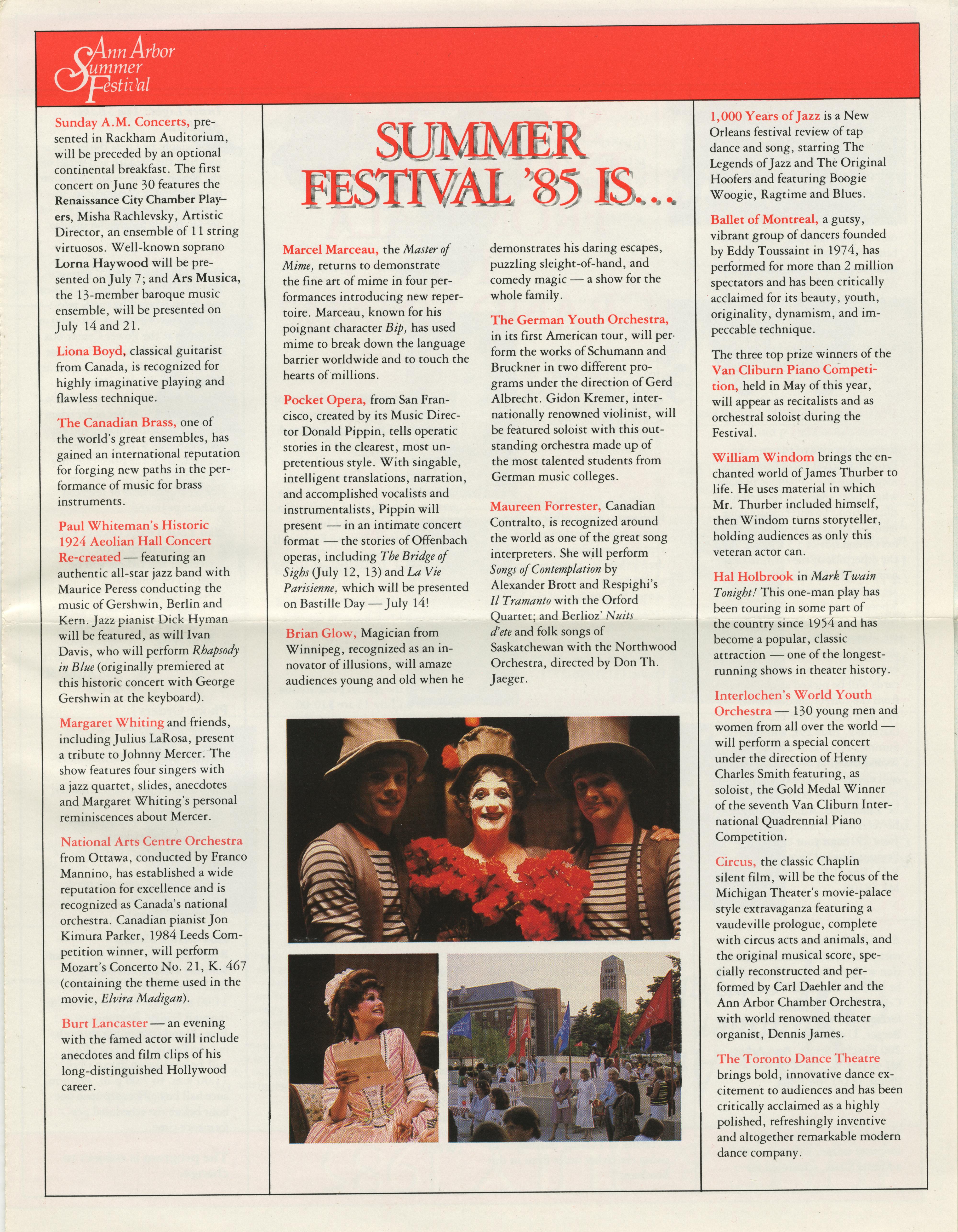 1985 Ann Arbor Summer Festival Program | Ann Arbor District