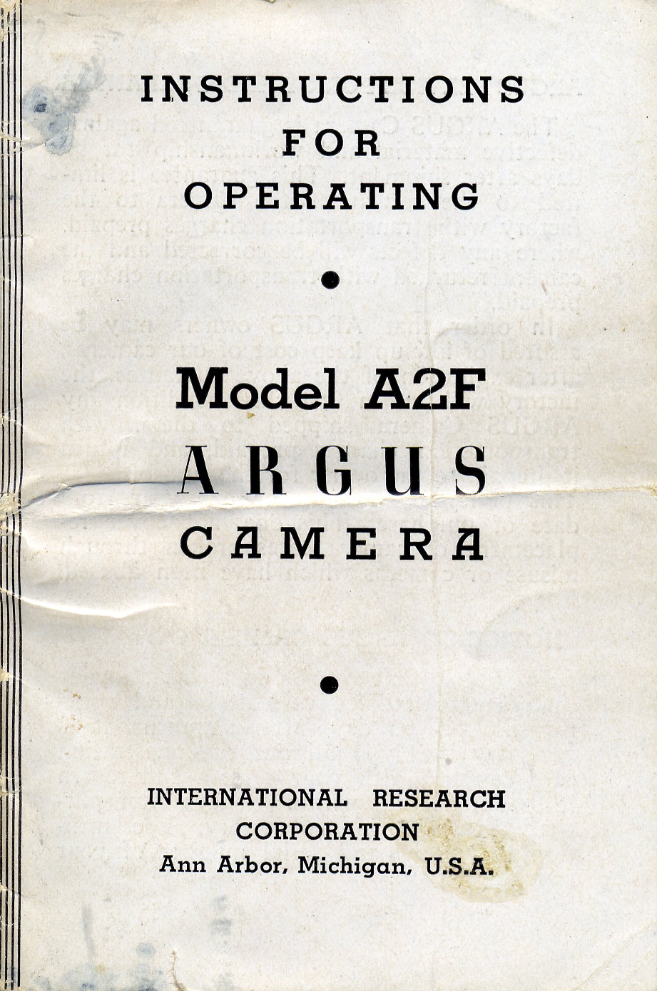 Instructions for Operating Model A2F Argus Camera