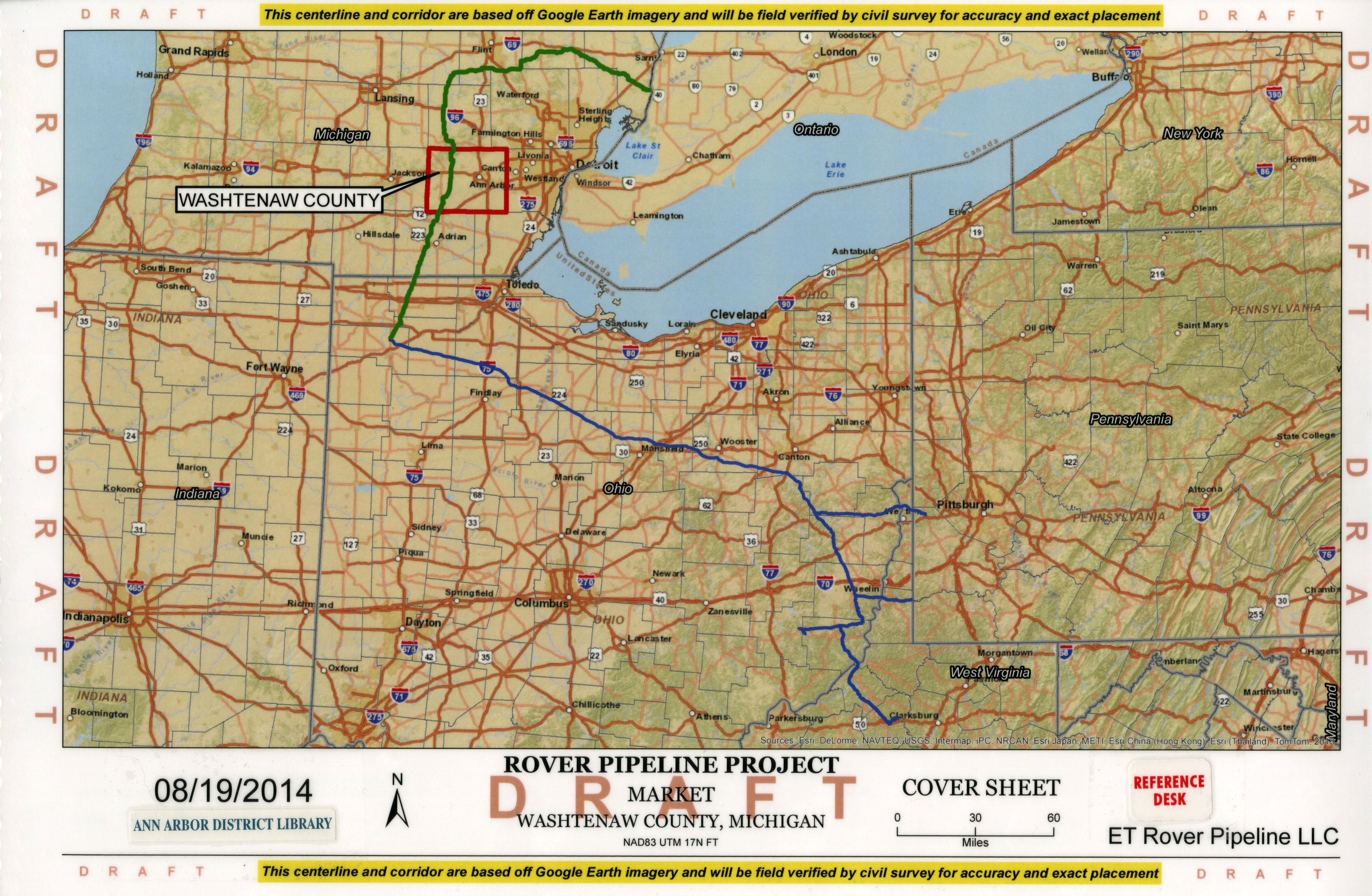 Michigan And Ohio Map.Et Rover Pipeline Washtenaw County Maps Ann Arbor District Library