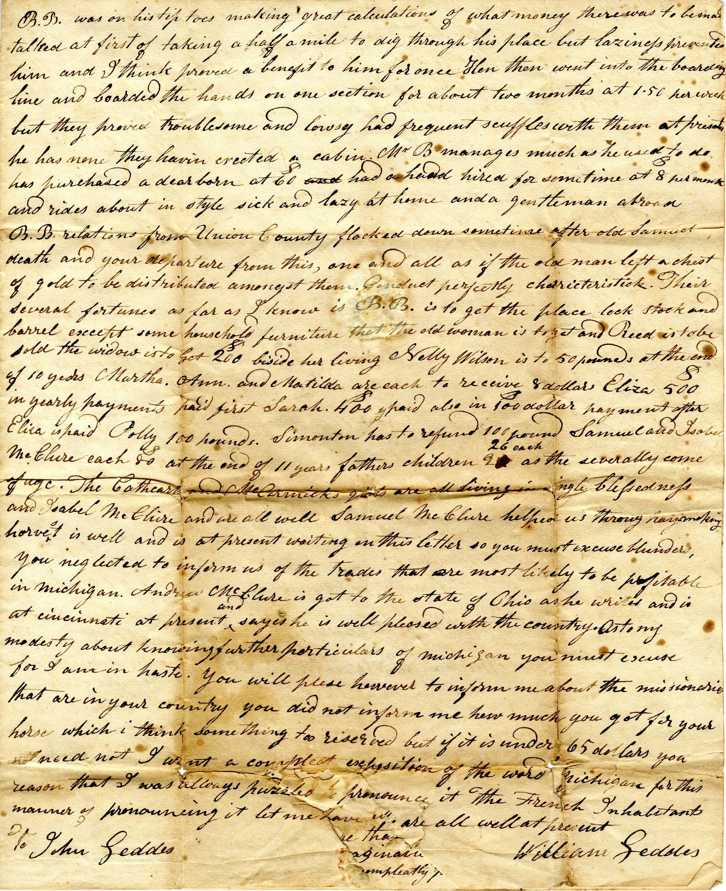 Letter from William Geddes to John Geddes, August 5, 1825 image