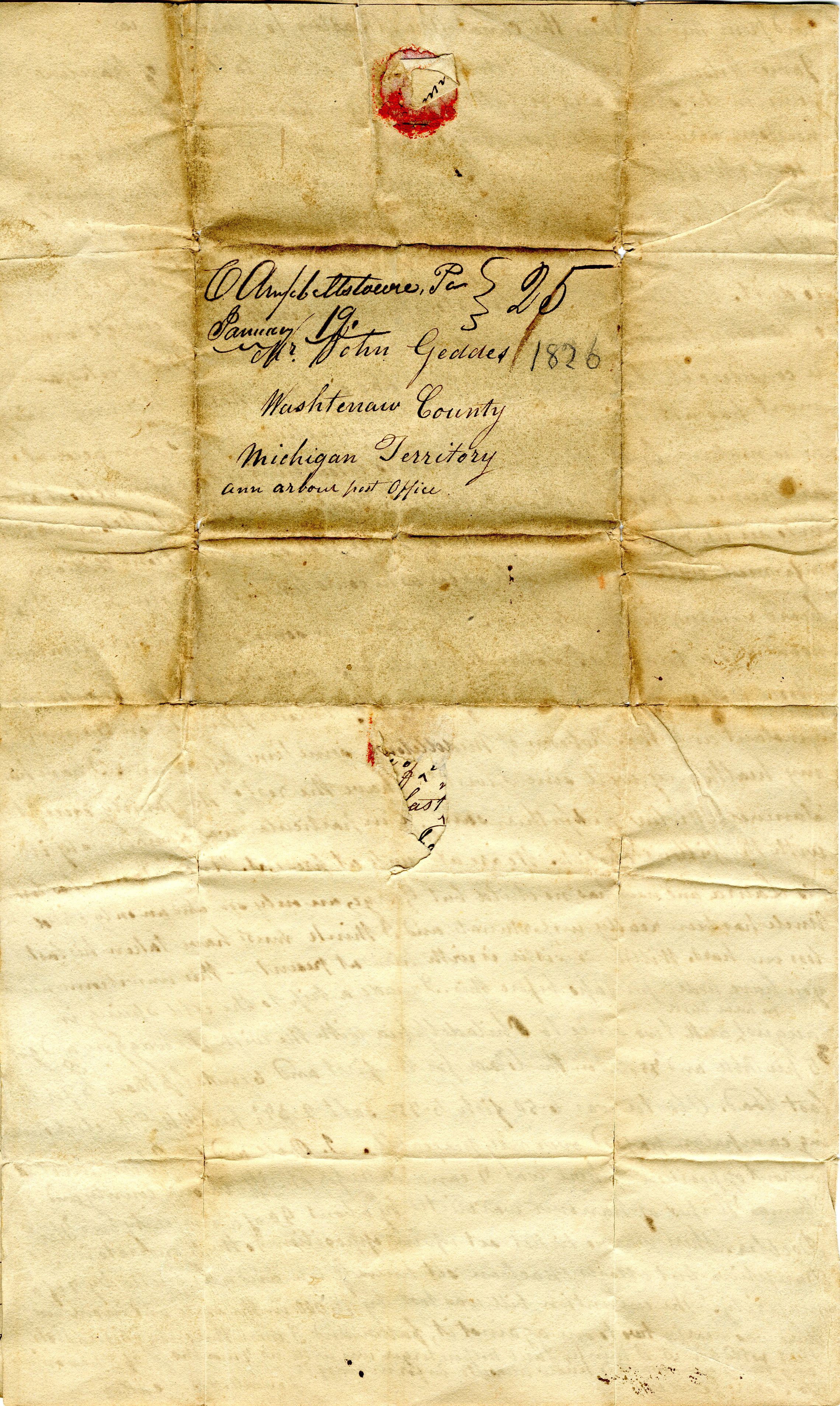 Letter from William Geddes to John Geddes, January 16, 1826 image
