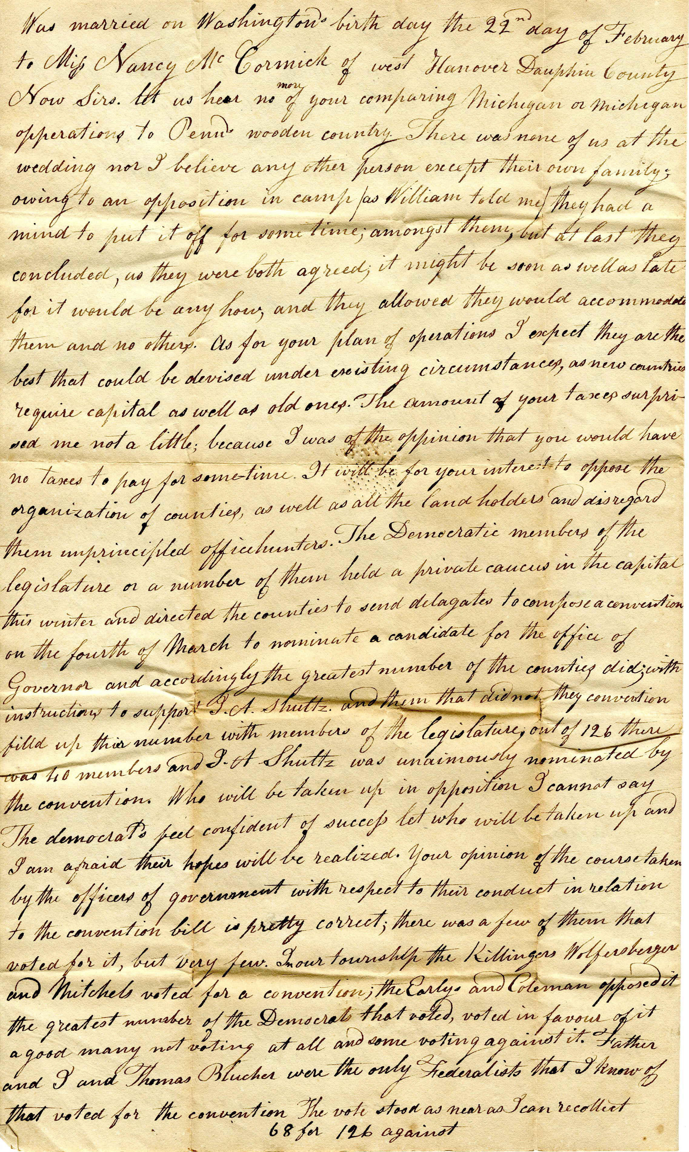 Letter From William Geddes to John Geddes, March 20, 1826 image