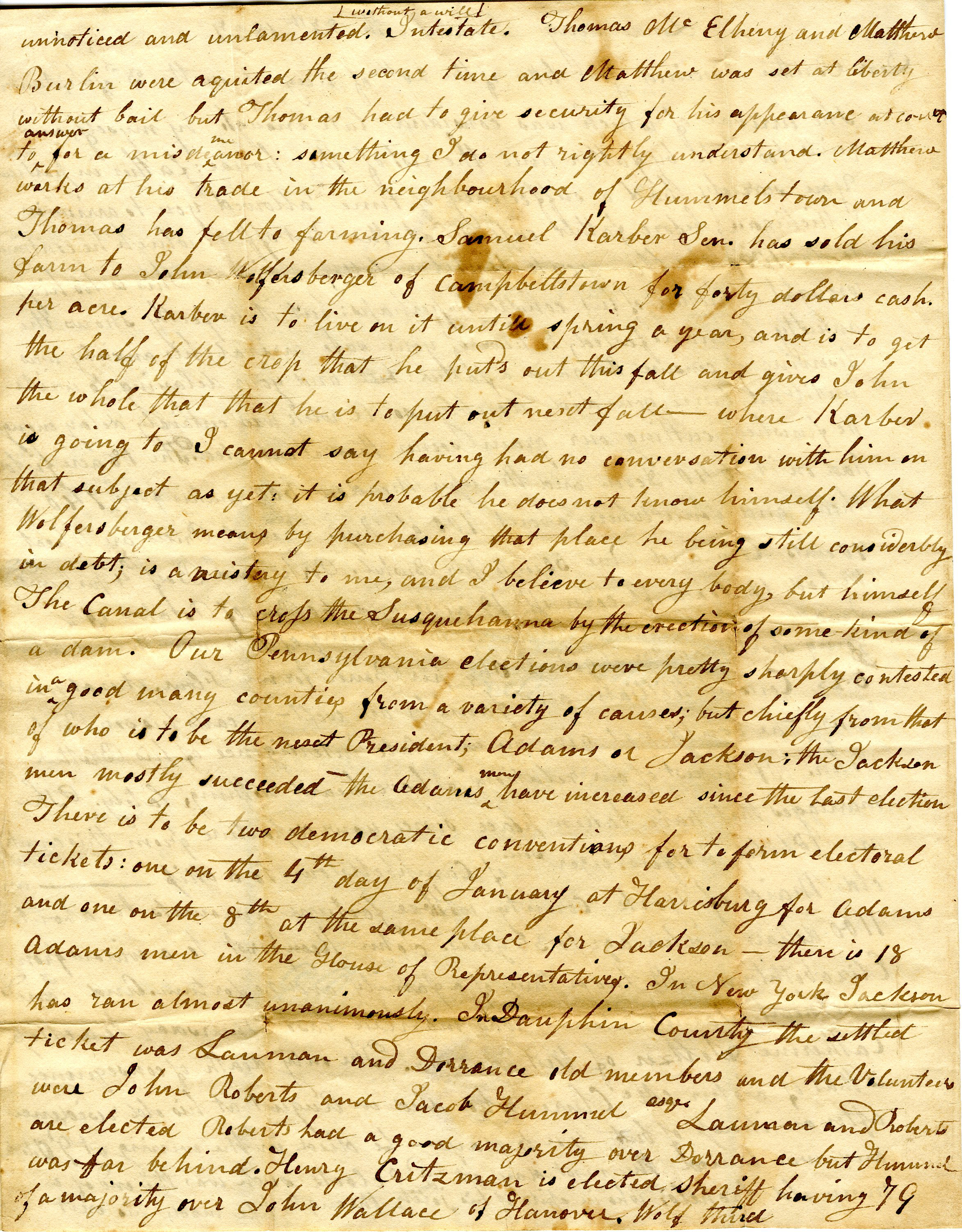 Letter From William Geddes to John Geddes, November 27th, 1827  image