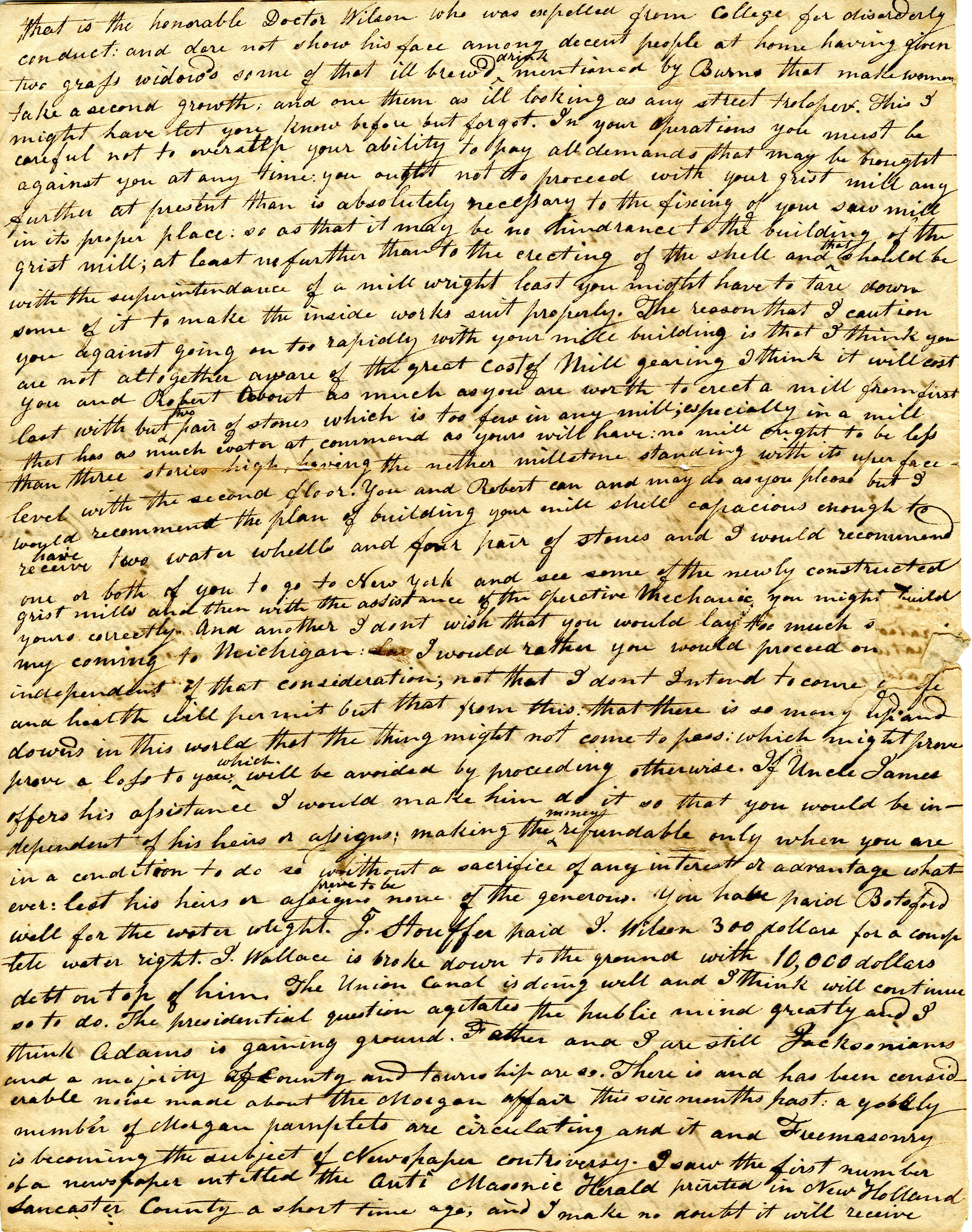 Letter From William Geddes to John Geddes, July 22, 1828  image