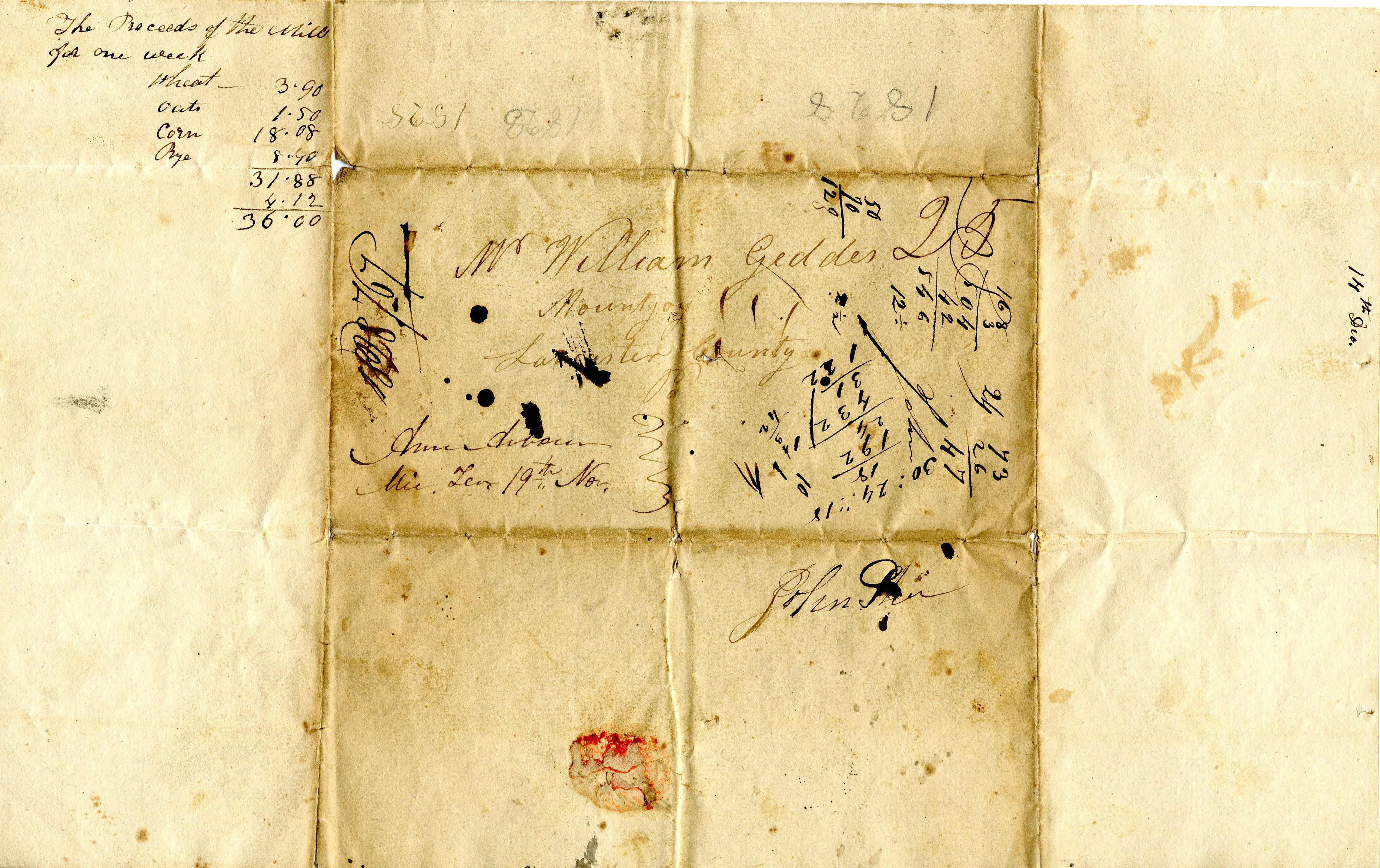 Letter From John Geddes to William Geddes, November 18, 1828  image