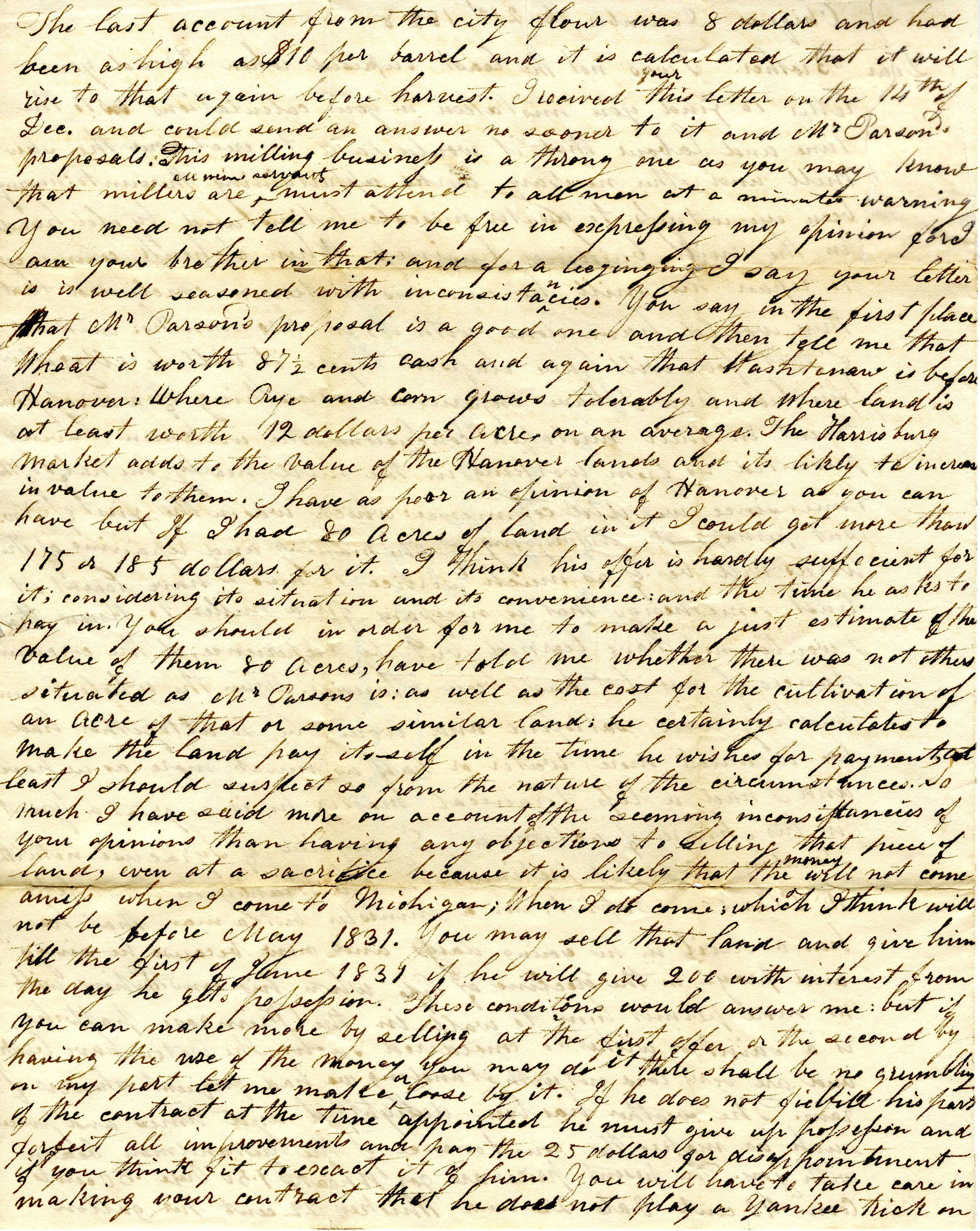 Letter From William Geddes to John Geddes, December 21, 1828  image