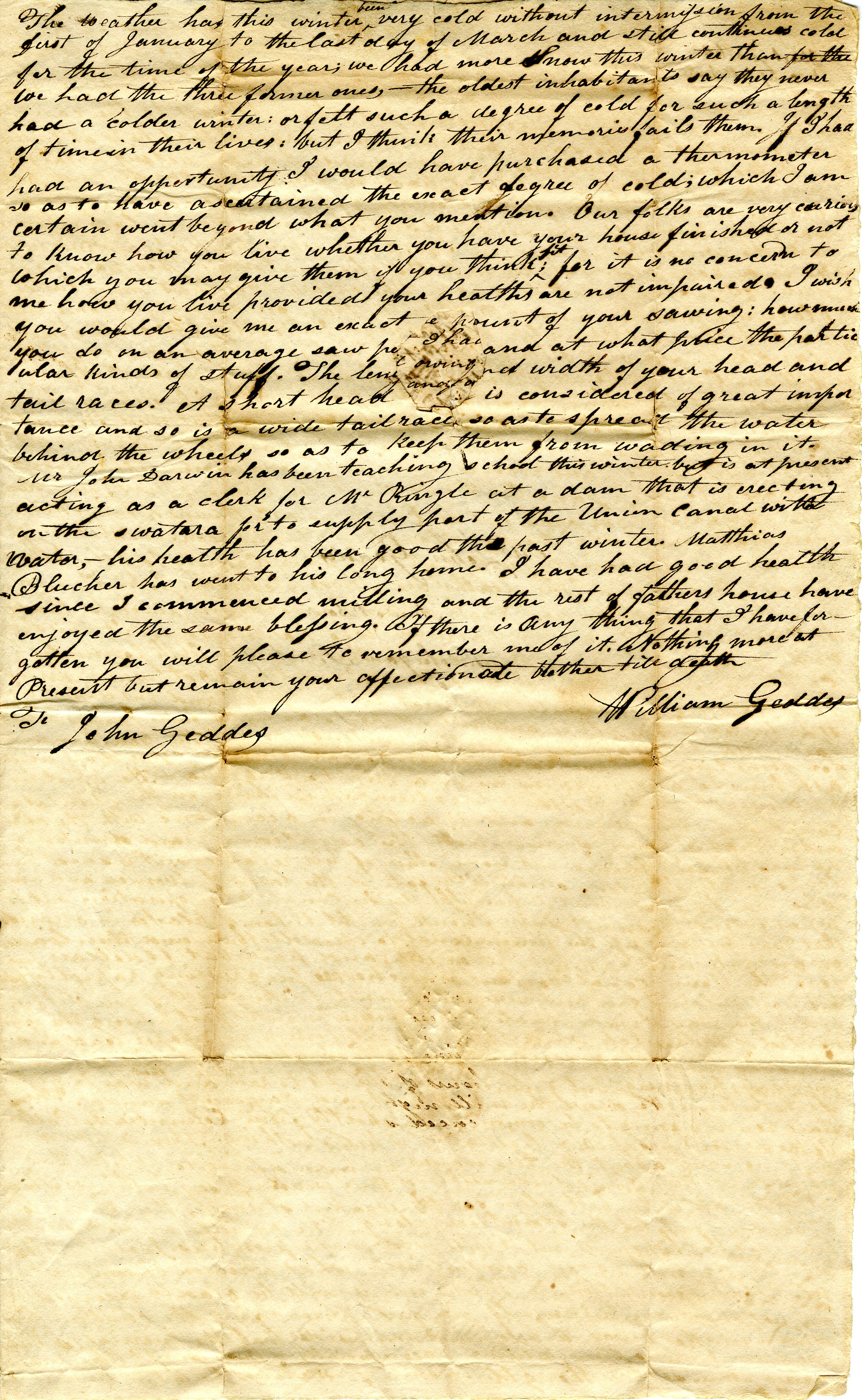 Letter From William Geddes to John Geddes, April 11, 1829  image