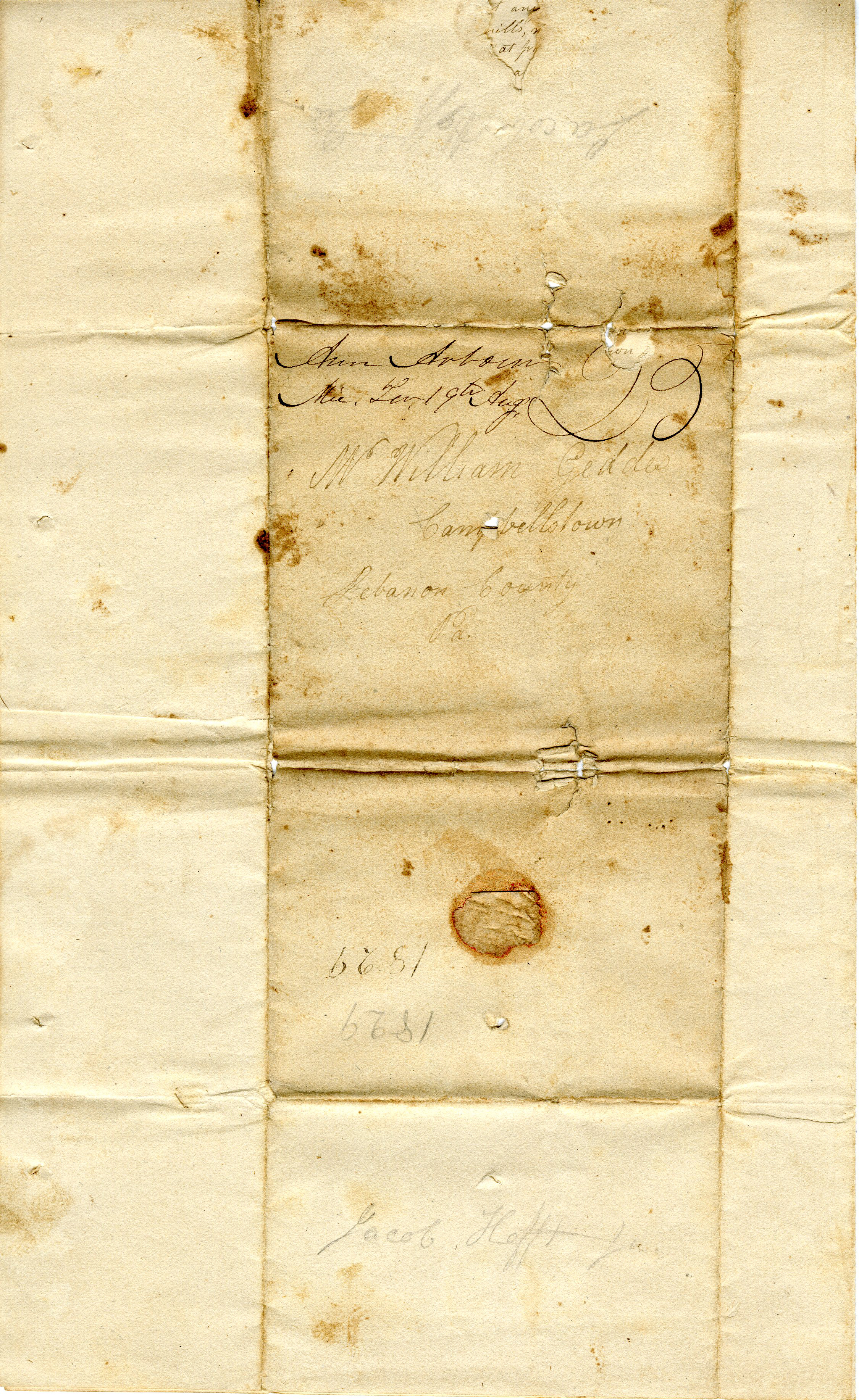 Letter From John Geddes to William Geddes, August 17, 1829 image