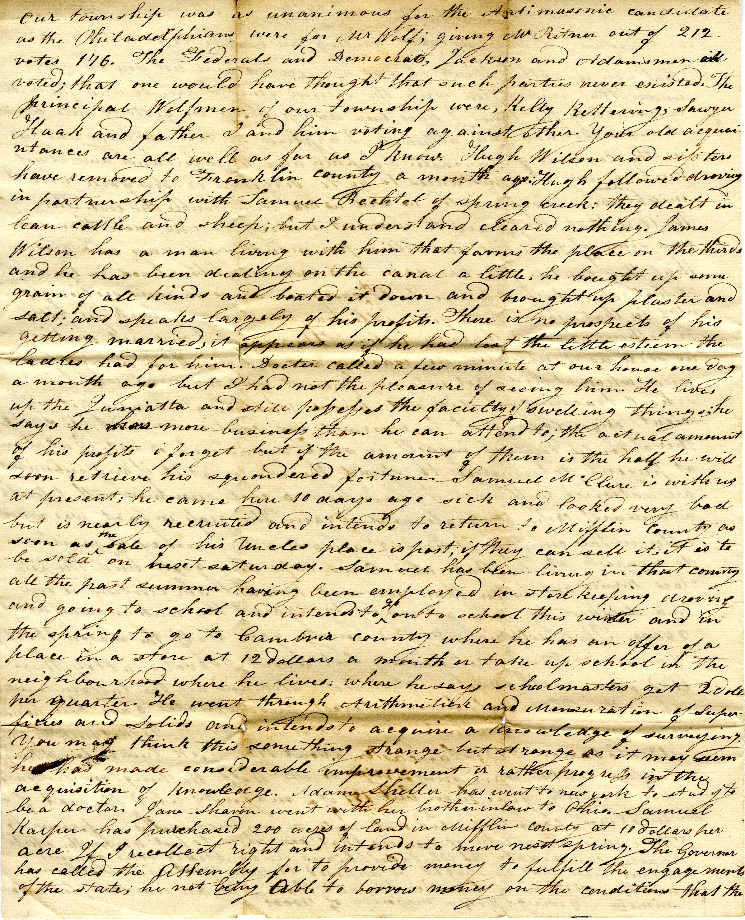 Letter From William Geddes to John Geddes, November 4, 1829 image