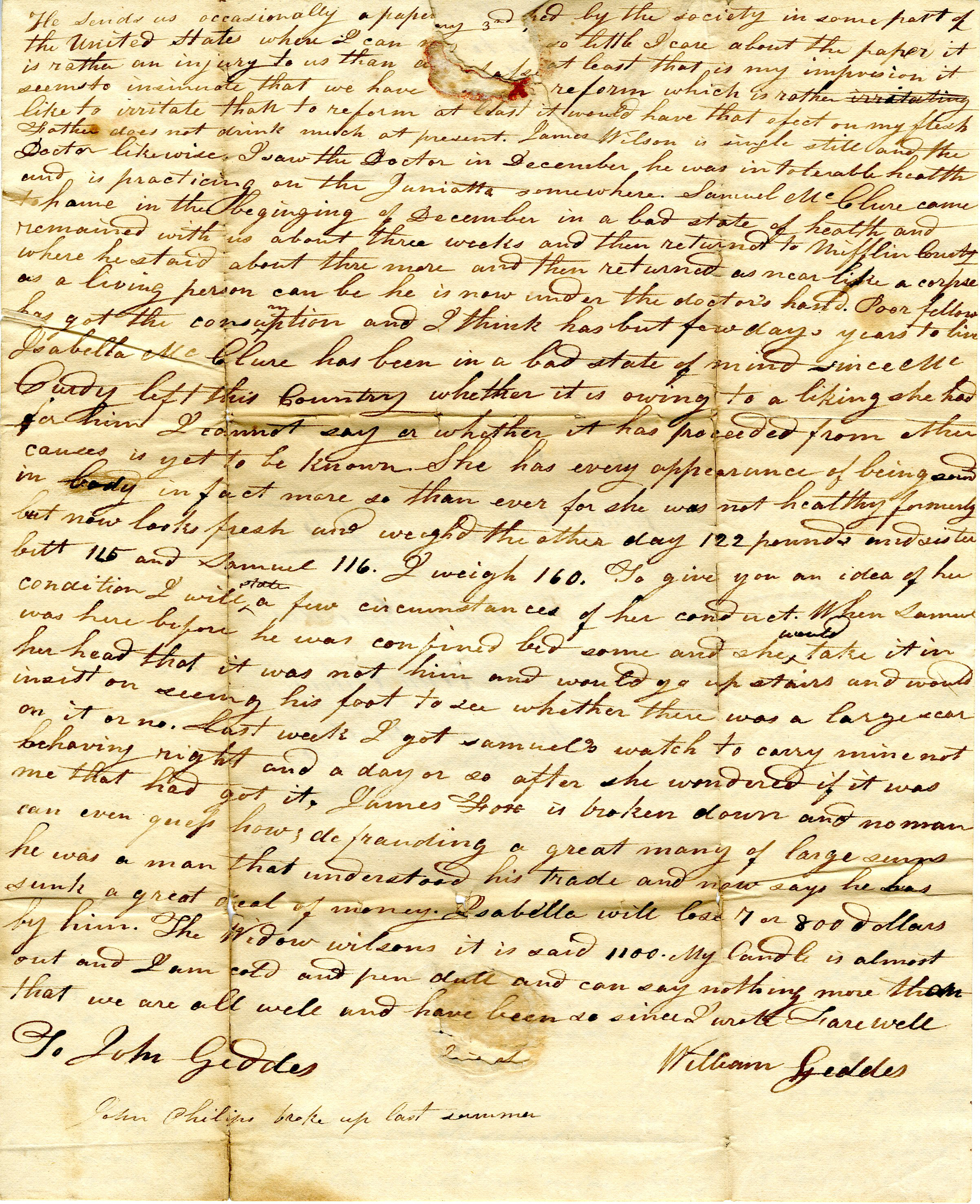 Letter From William Geddes to John Geddes, February 3, 1830 image