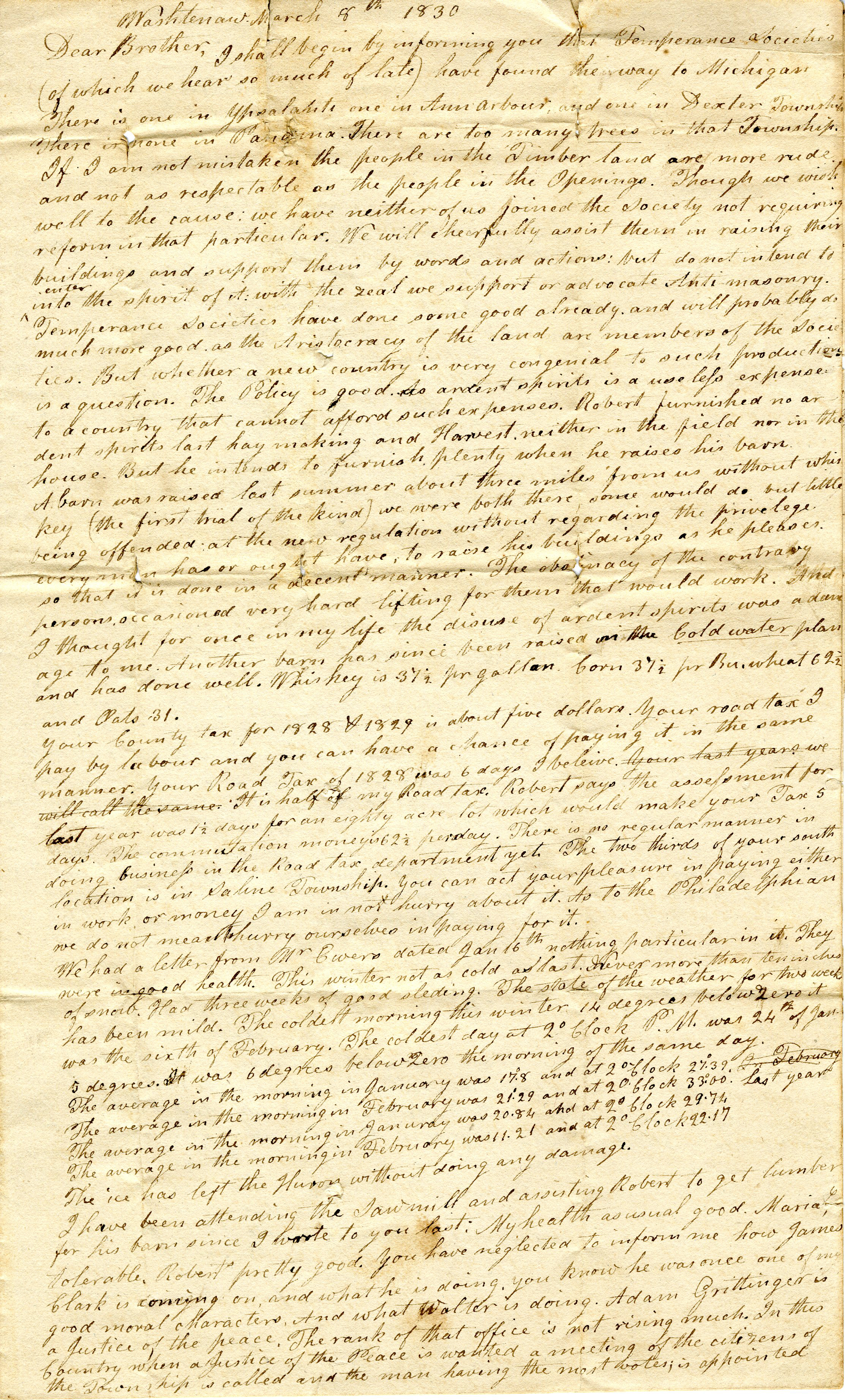 Letter From John Geddes to William Geddes, March 8, 1830 image