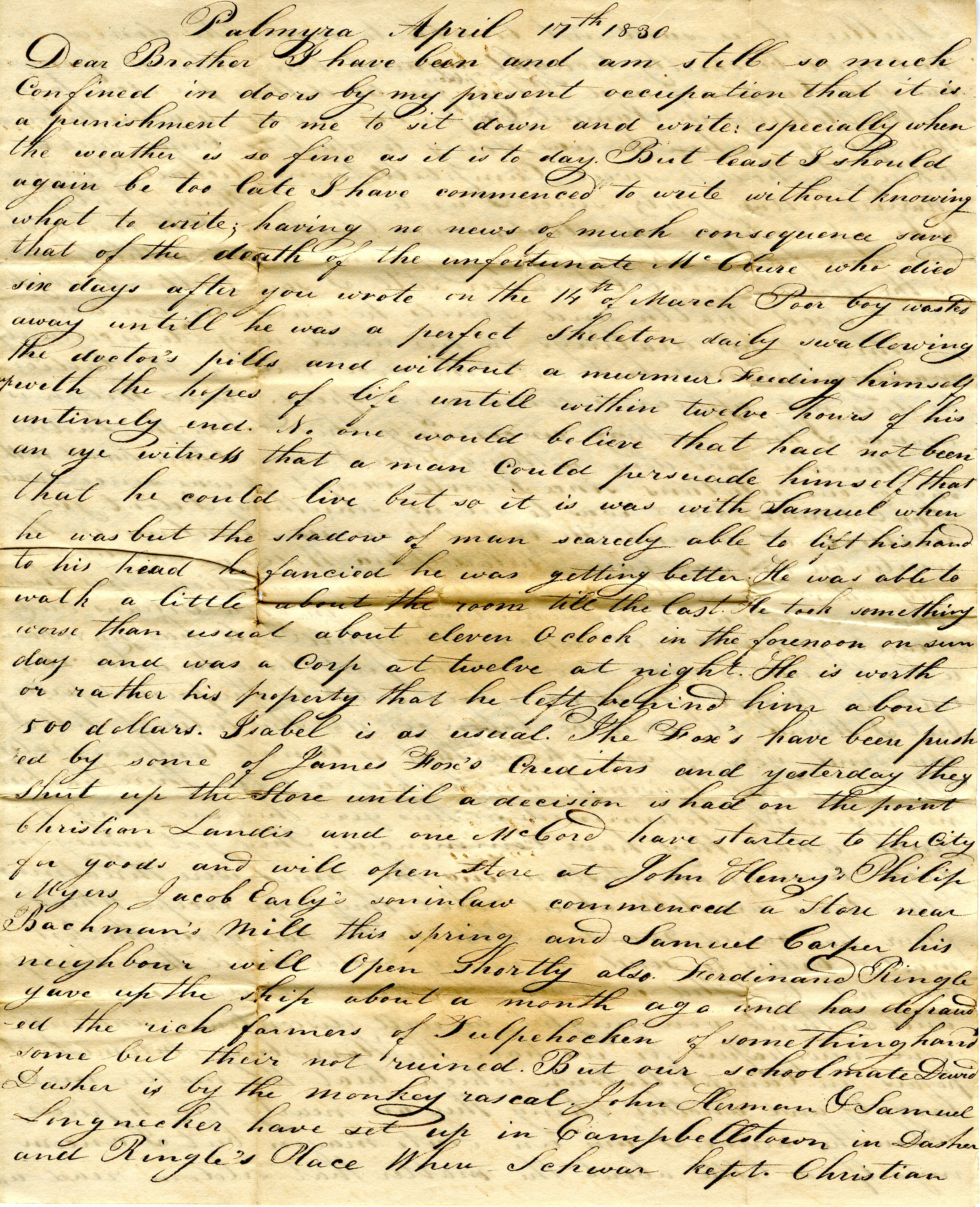 Letter From William Geddes to John Geddes, April 17, 1830 image