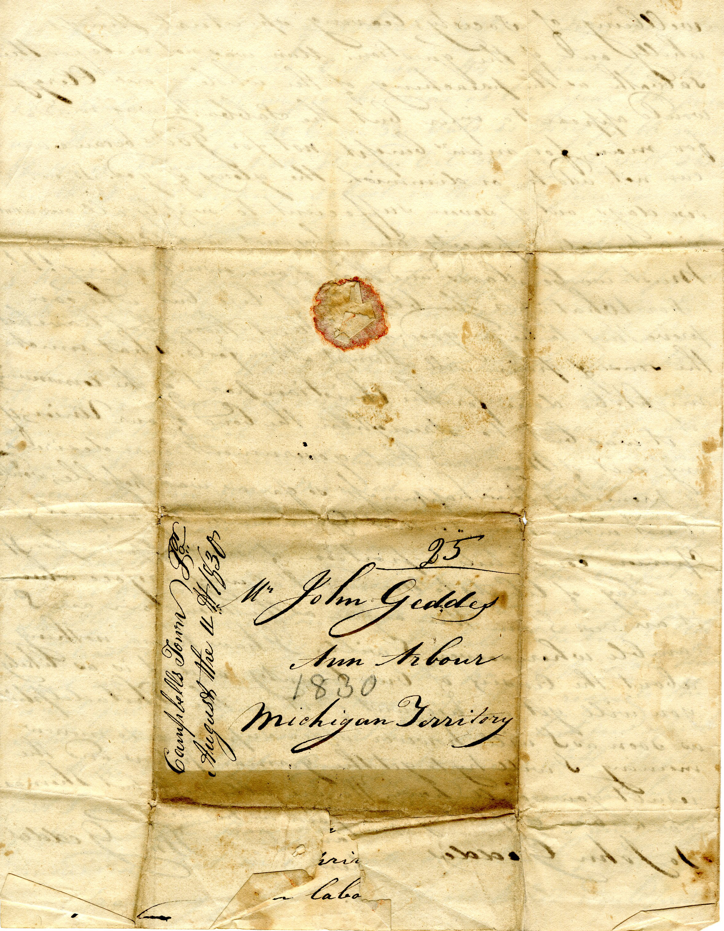 Letter From William Geddes to John Geddes, August 3, 1830 image